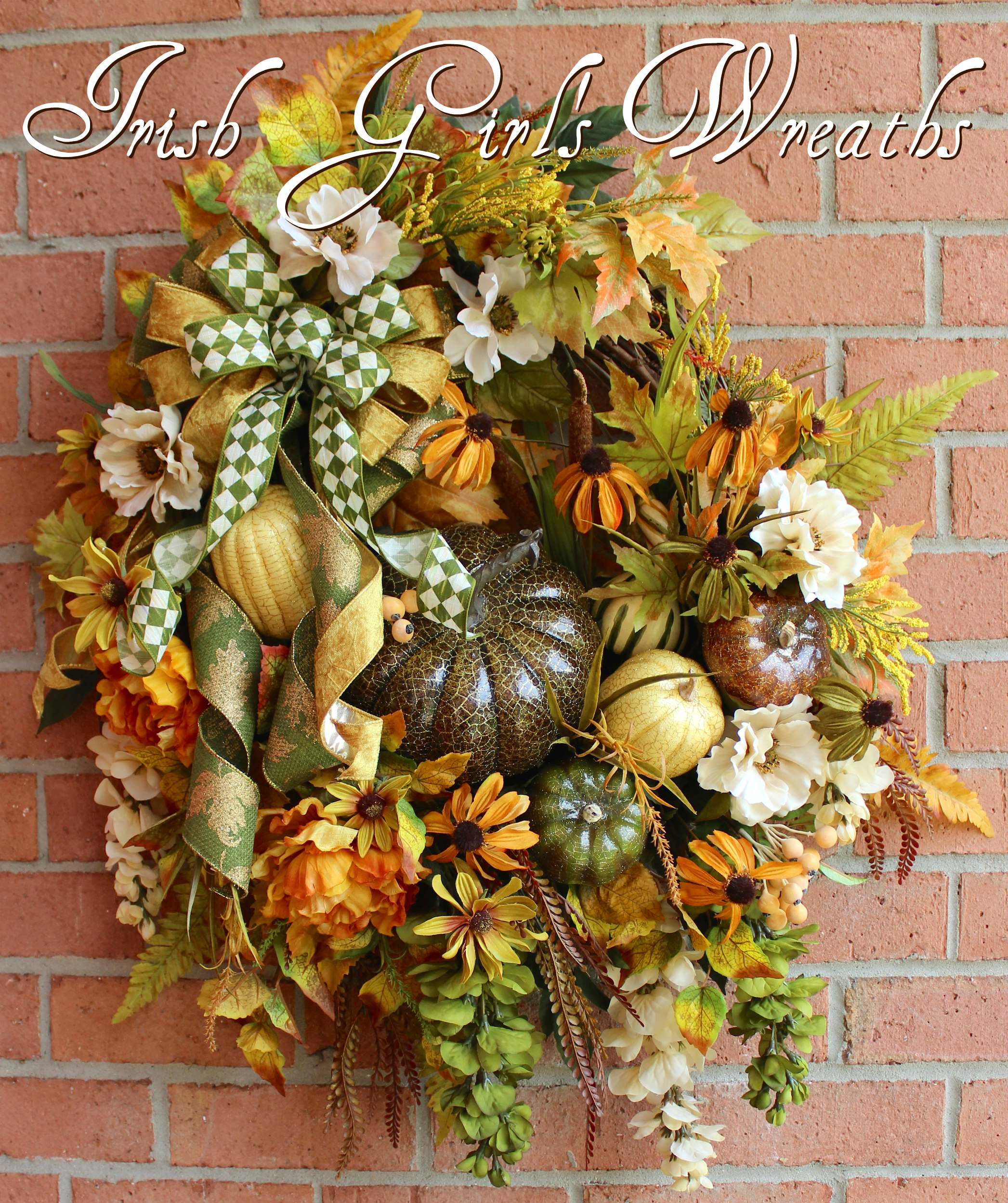 Deluxe Fall Pumpkin Olive, Tuscan Gold and Ivory Autumn Floral Wreath