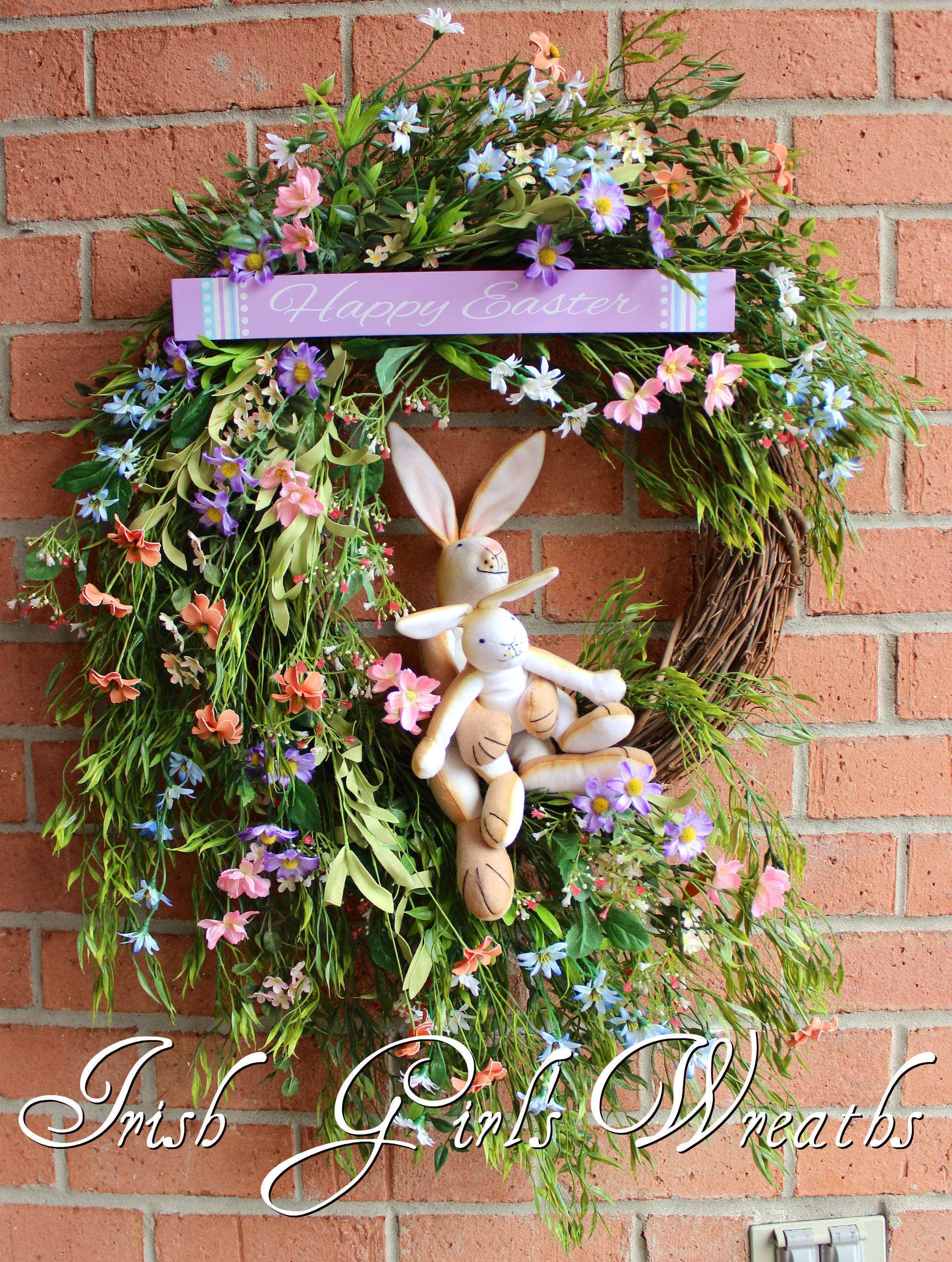 Guess How Much I Love You Bunnies Easter Wreath, Custom for Sherri