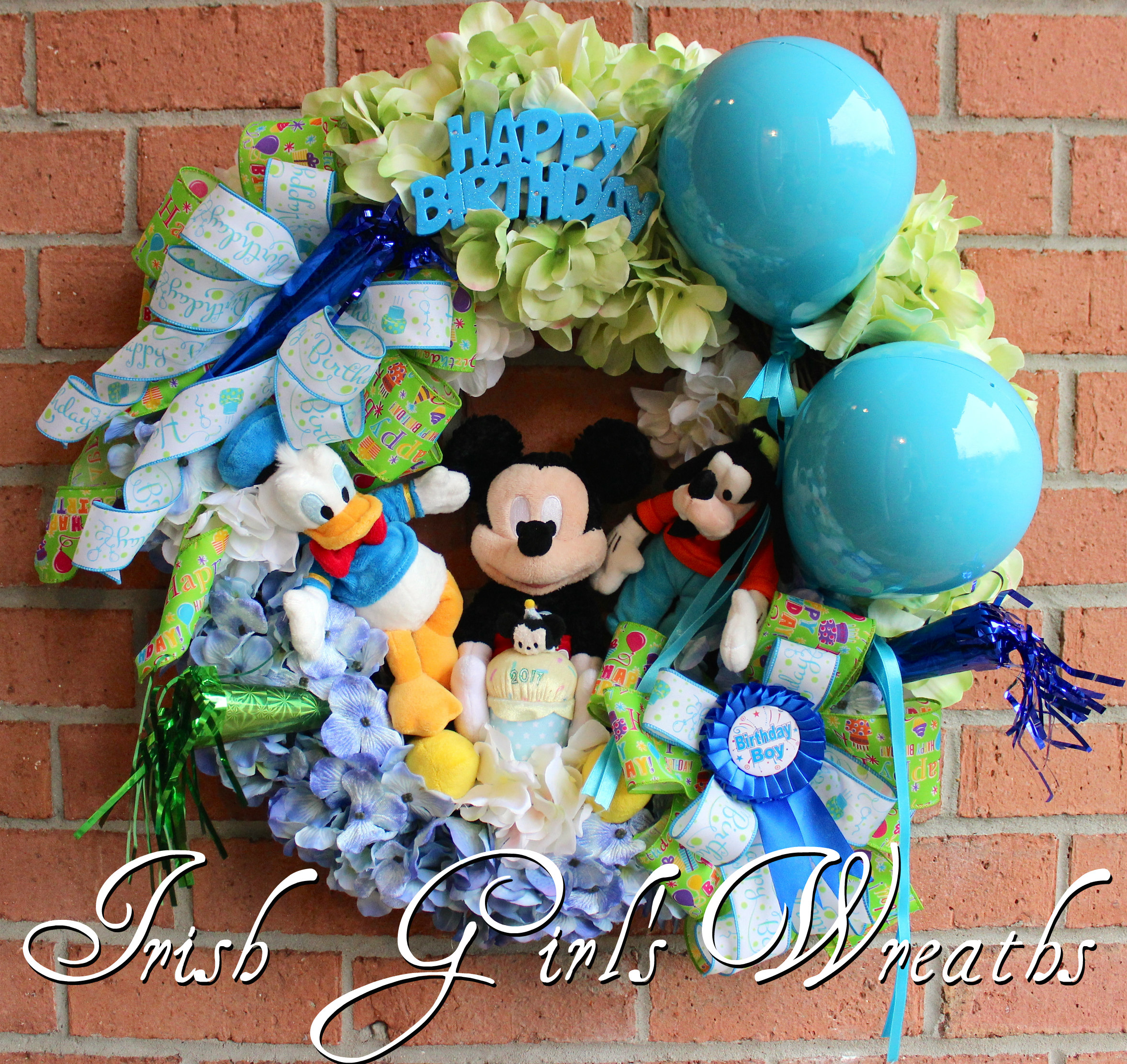 Boy Mickey Mouse ClubHouse Happy Birthday Wreath, Custom Order