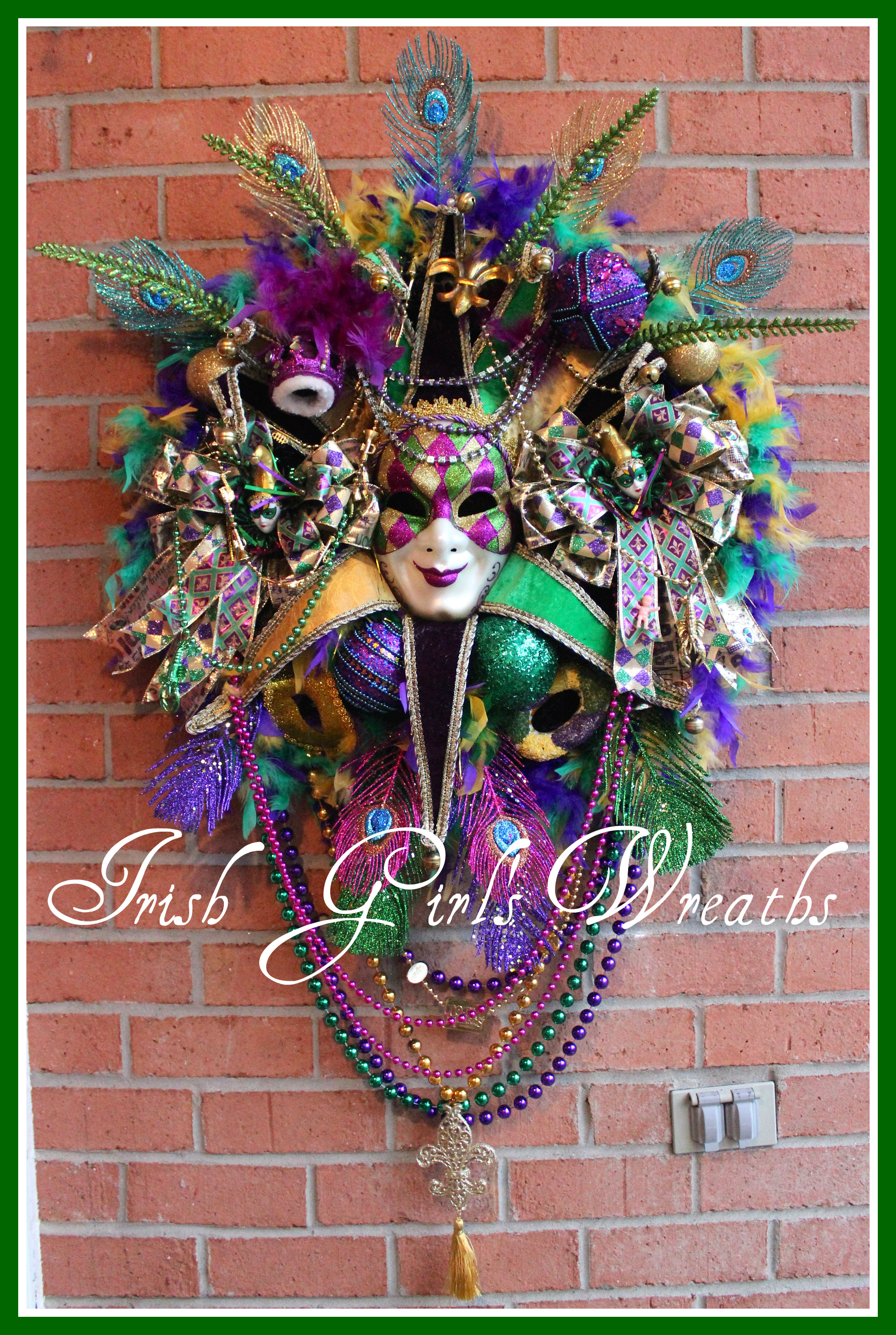 HUGE Harlequin Jester Mask Mardi Gras Carnival Wreath, peacock, King Cake