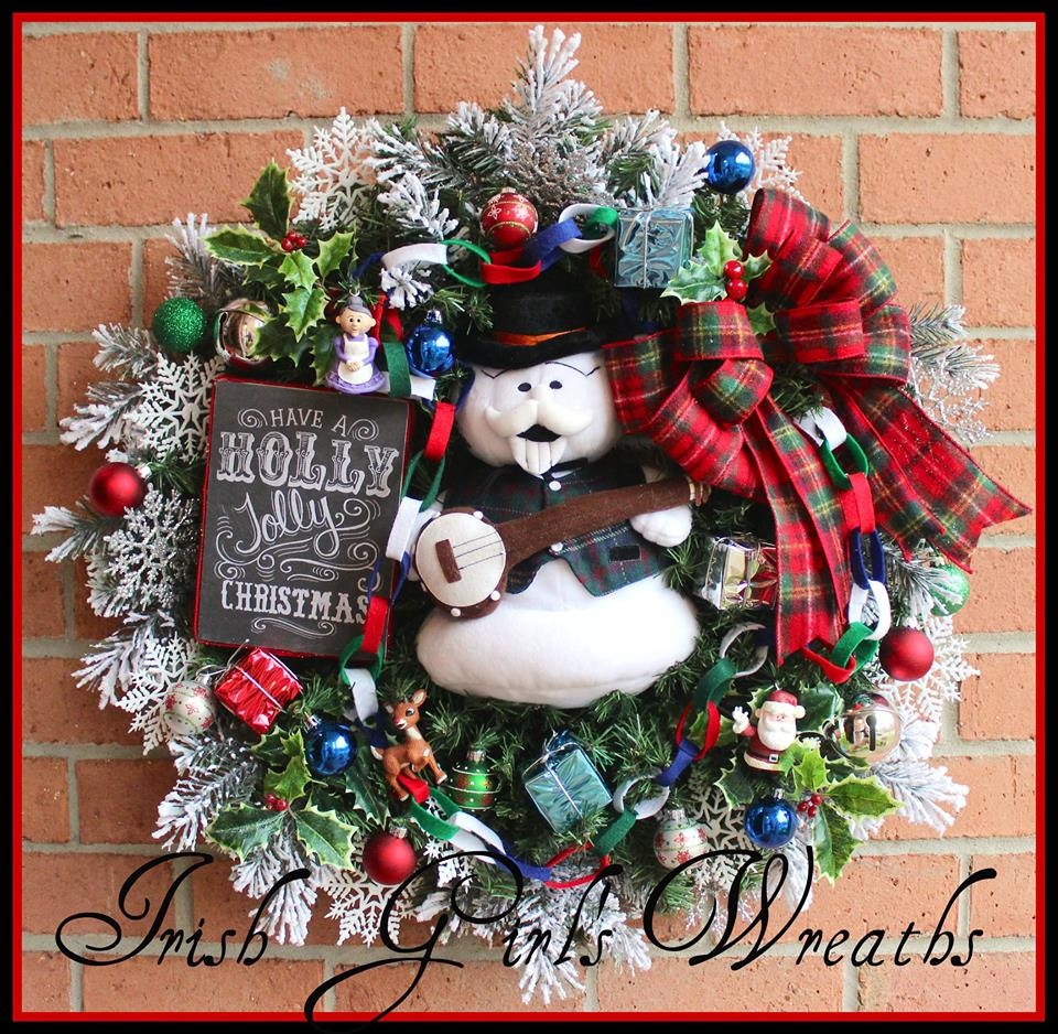 Have Holly a Jolly Christmas Sam the Snowman Wreath