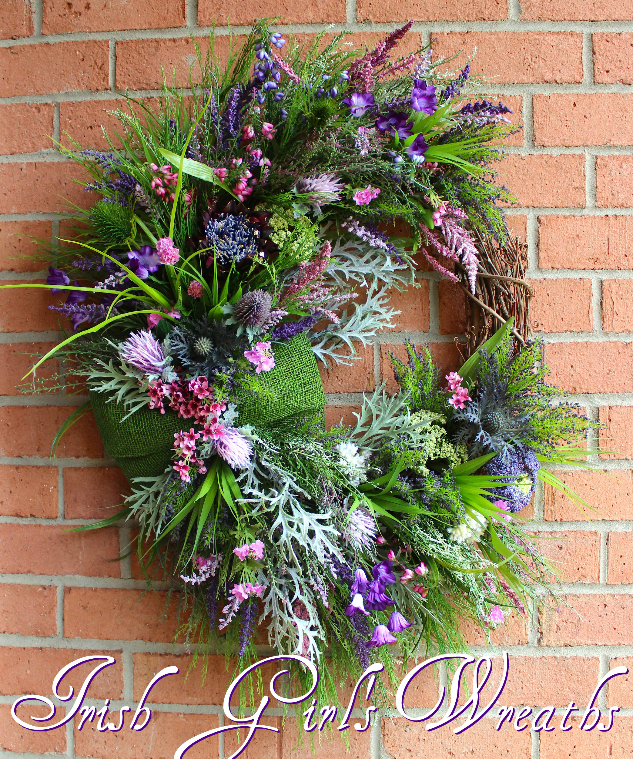 MADE TO ORDER Scottish Thistle & Heather Coastal Wreath