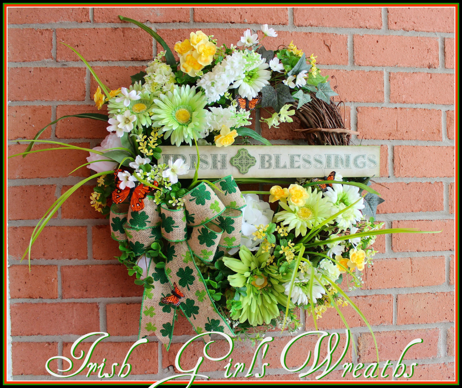 Irish Blessings Shamrocks and Daisies St.Patrick's Day Wreath, Spring Wreath, Hydrangea, Peony, clover