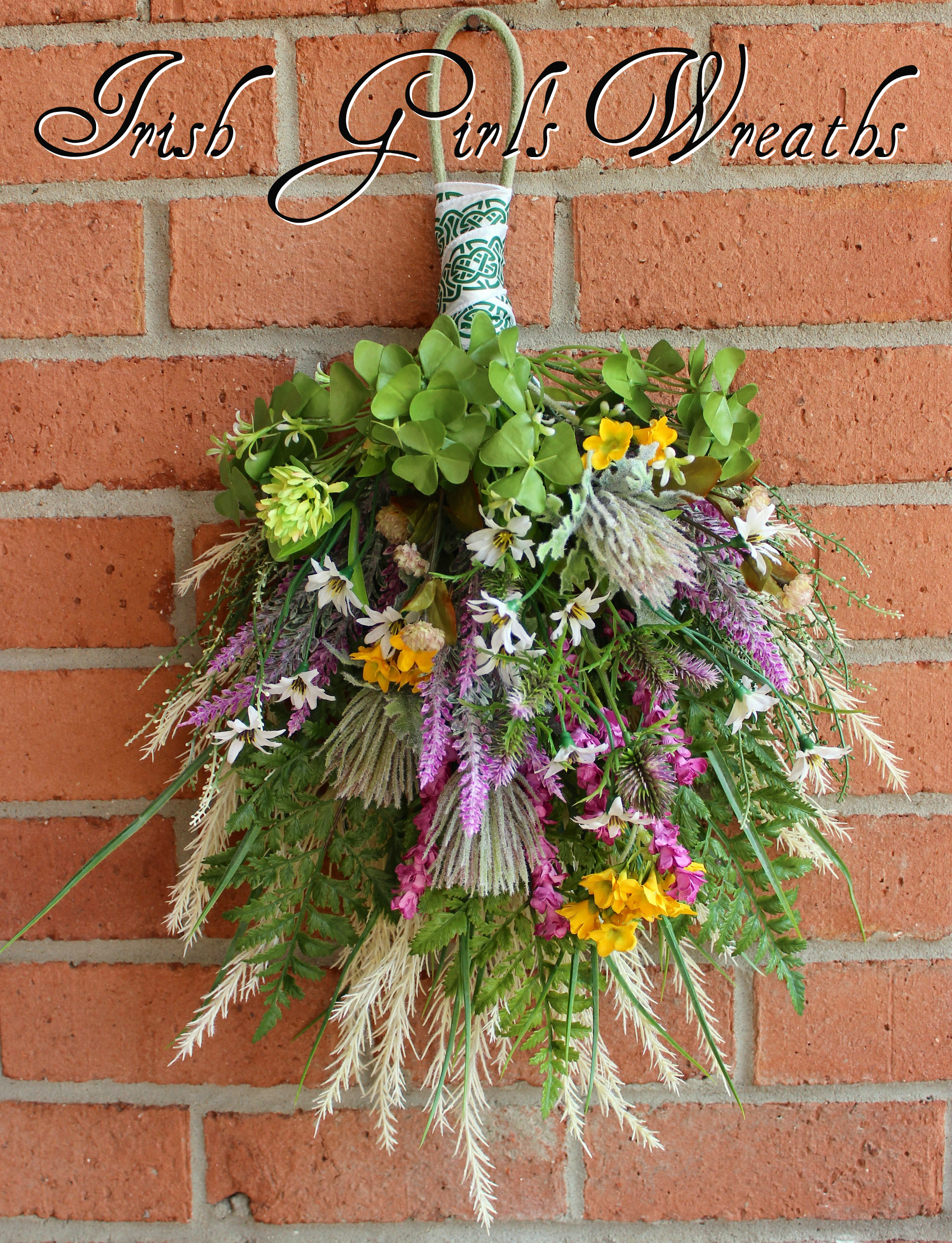 Irish Wildflower Floral Swag, Ireland Wreath, St Patricks Spring floral, Summer Floral, Shamrock, clover, thistle, Irish Primrose