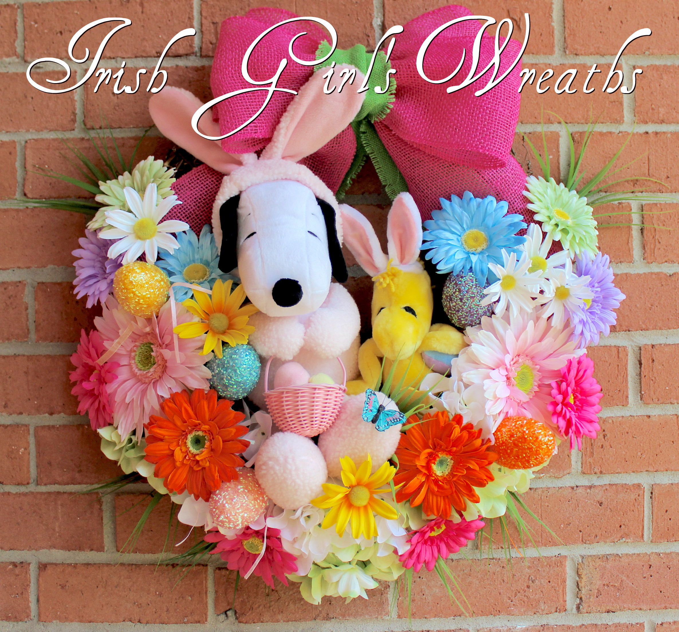 Easter Beagle Snoopy and Woodstock Easter Wreath, Custom for Jessica
