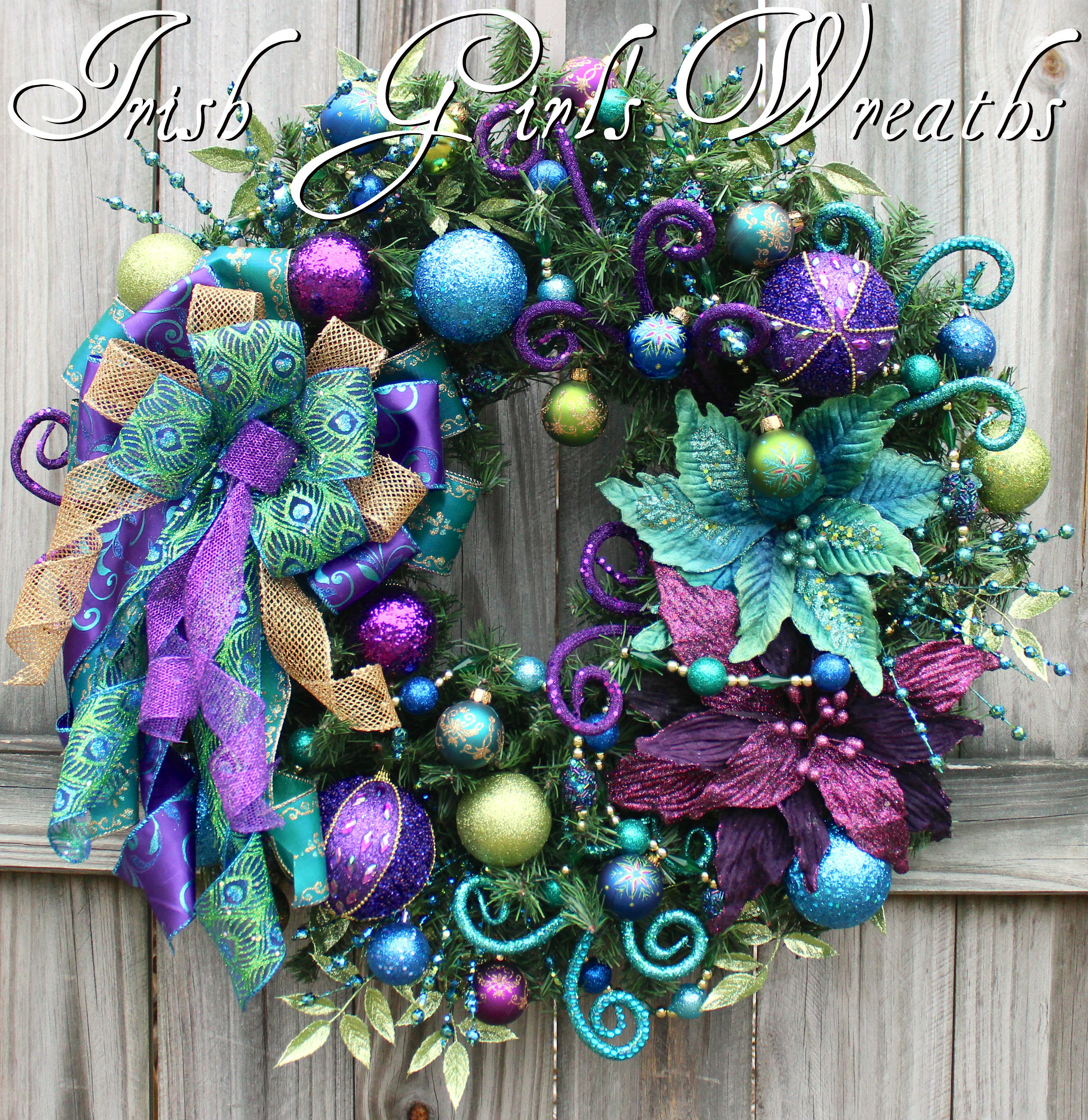 Jewel Tone Christmas Teal Purple Wreath, Mardi Gras Wreath