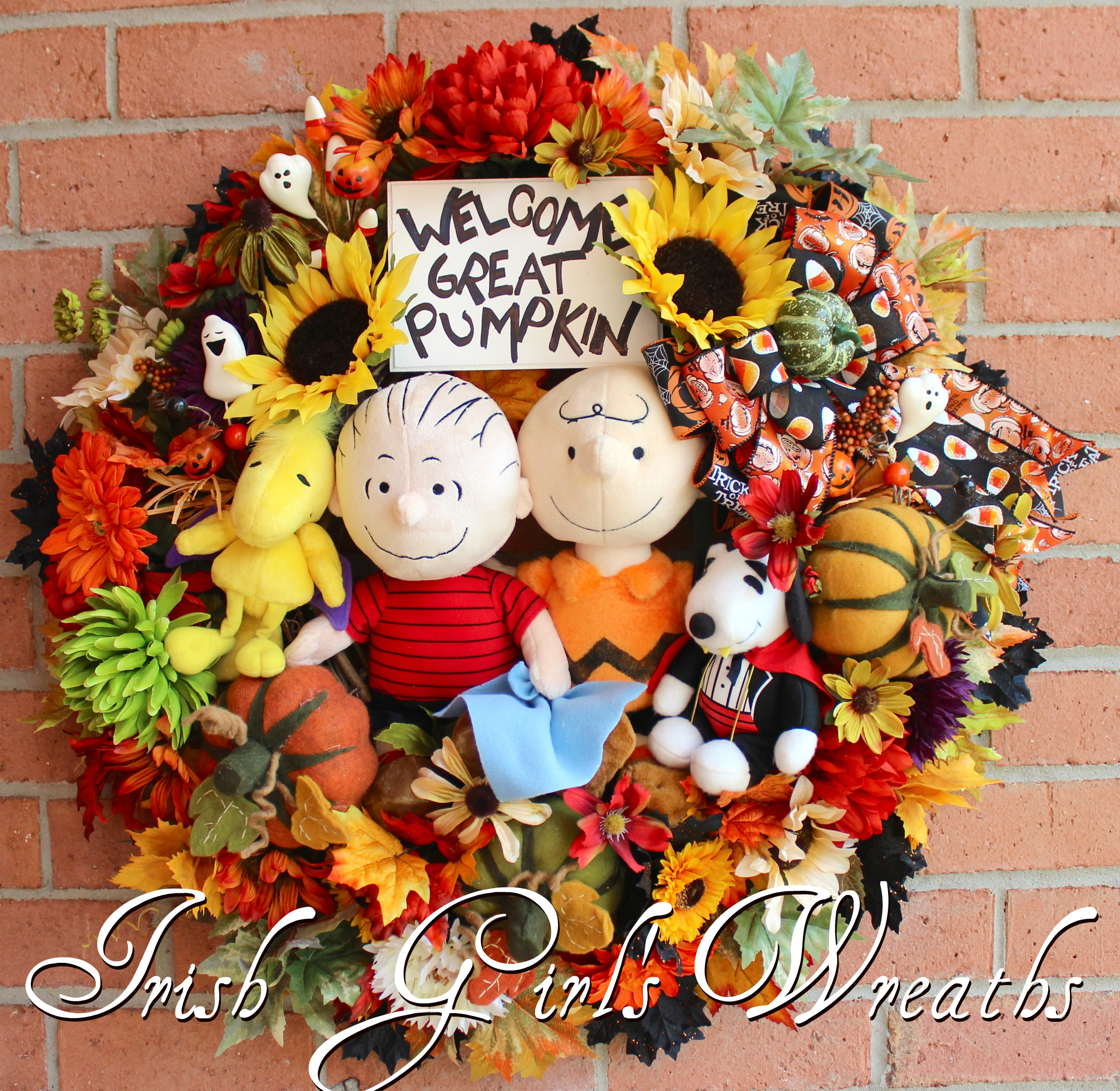 Deluxe Great Pumpkin Charlie Brown Wreath, Custom for Kelly