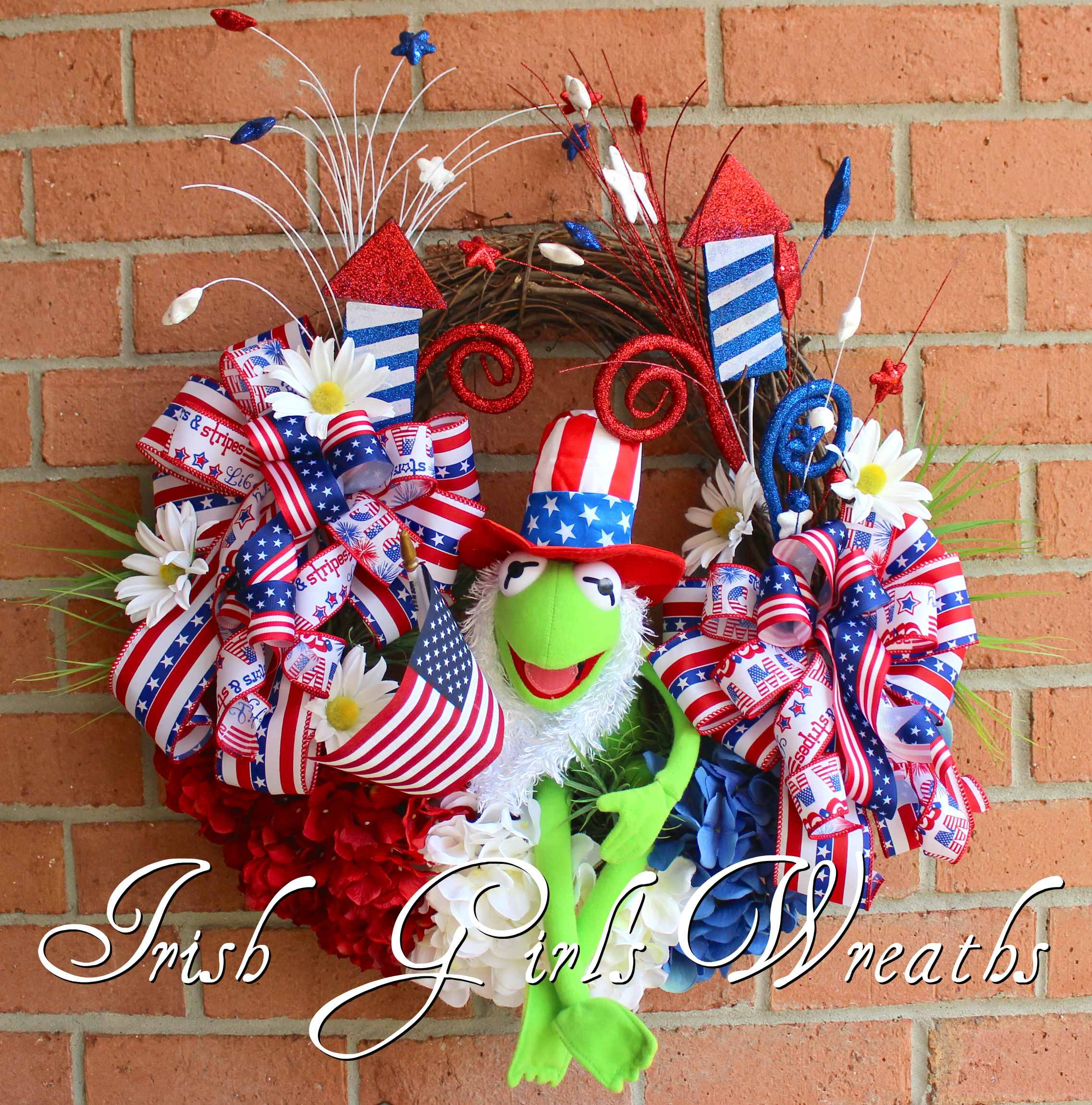 Kermit the Frog Muppet Patriotic Wreath