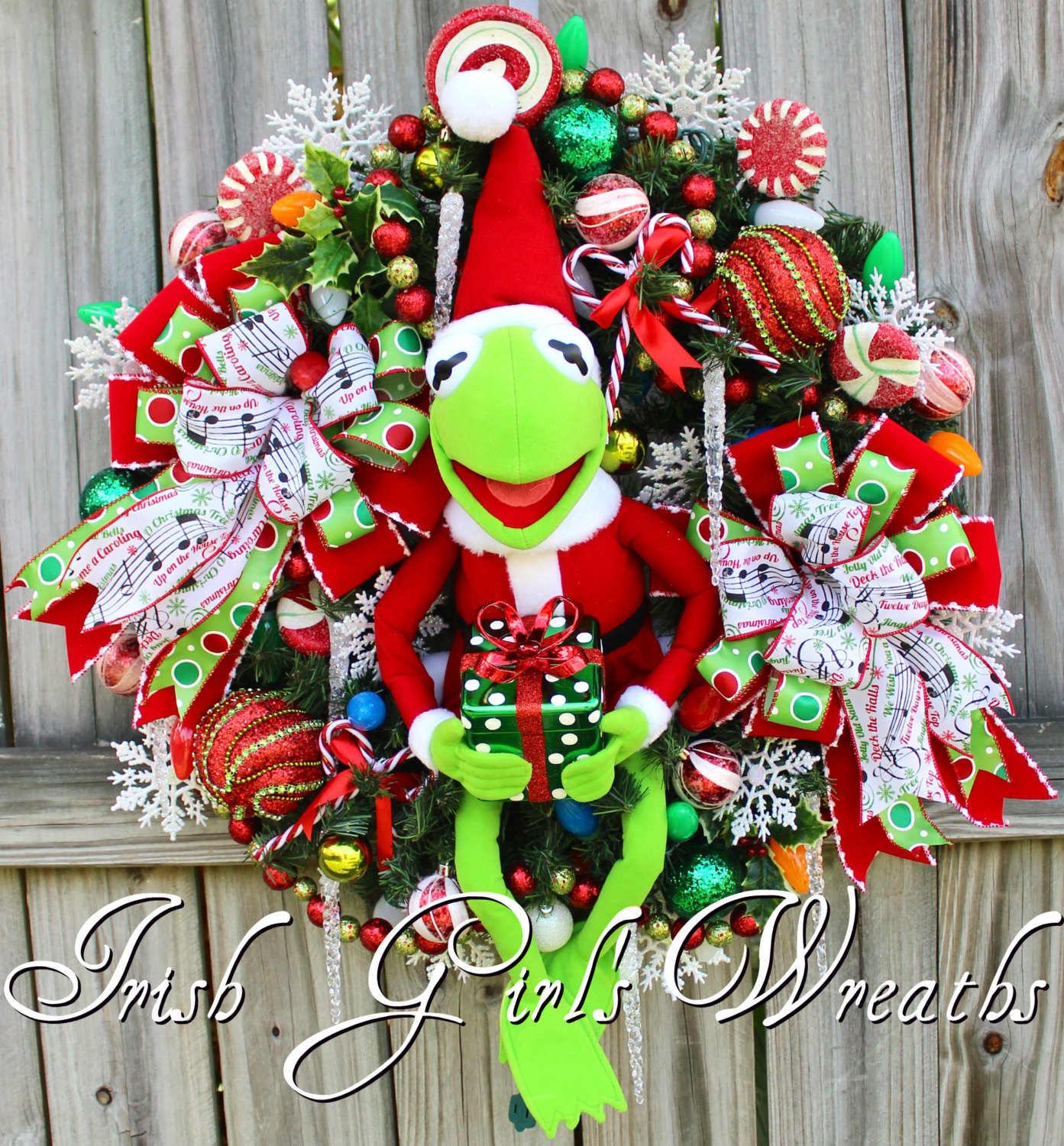 Santa Kermit the Frog Pre-lit Christmas Wreath, Muppets Merry Christmas