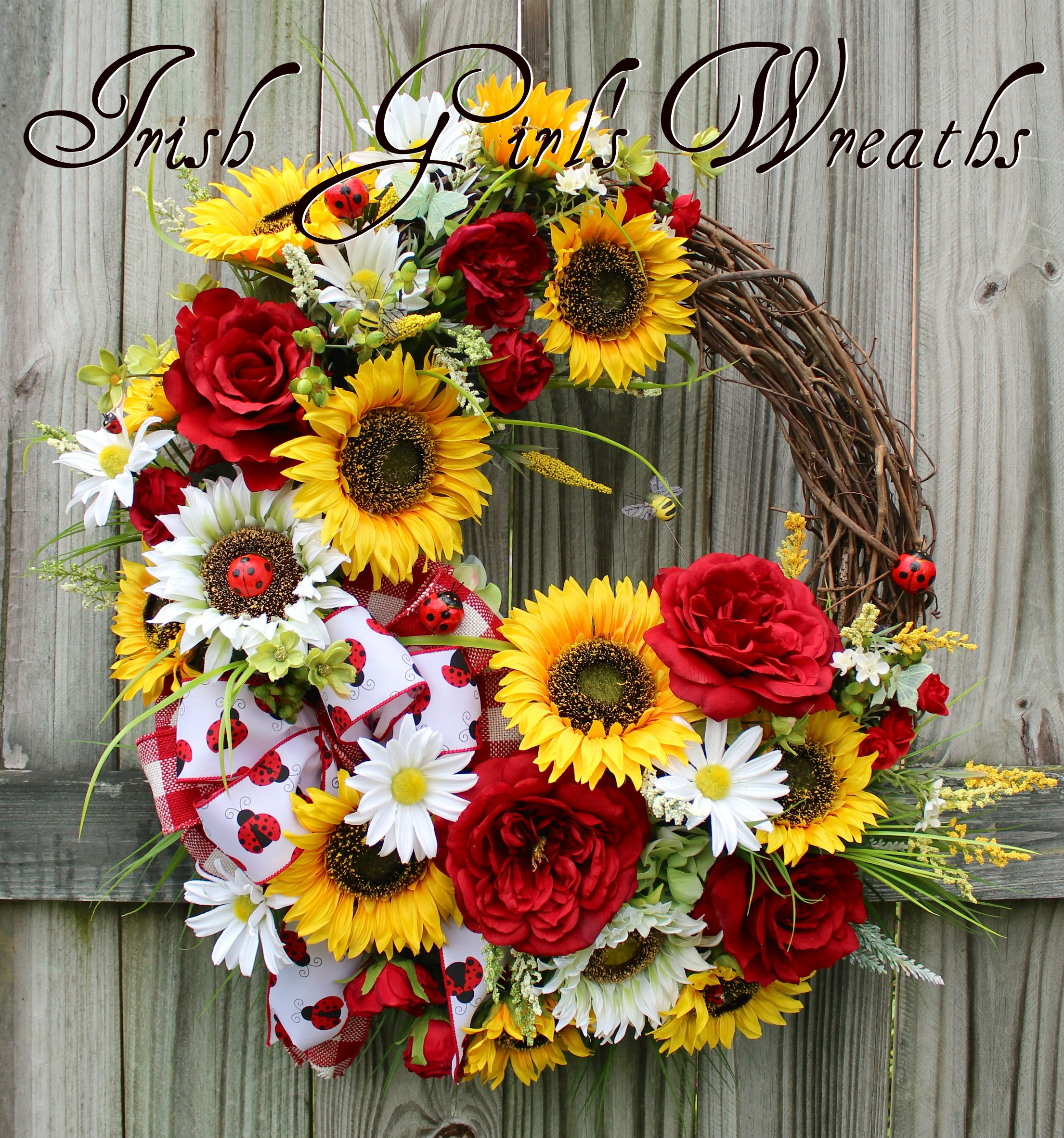 Summer Country Sunflower and Rose Ladybug Wreath