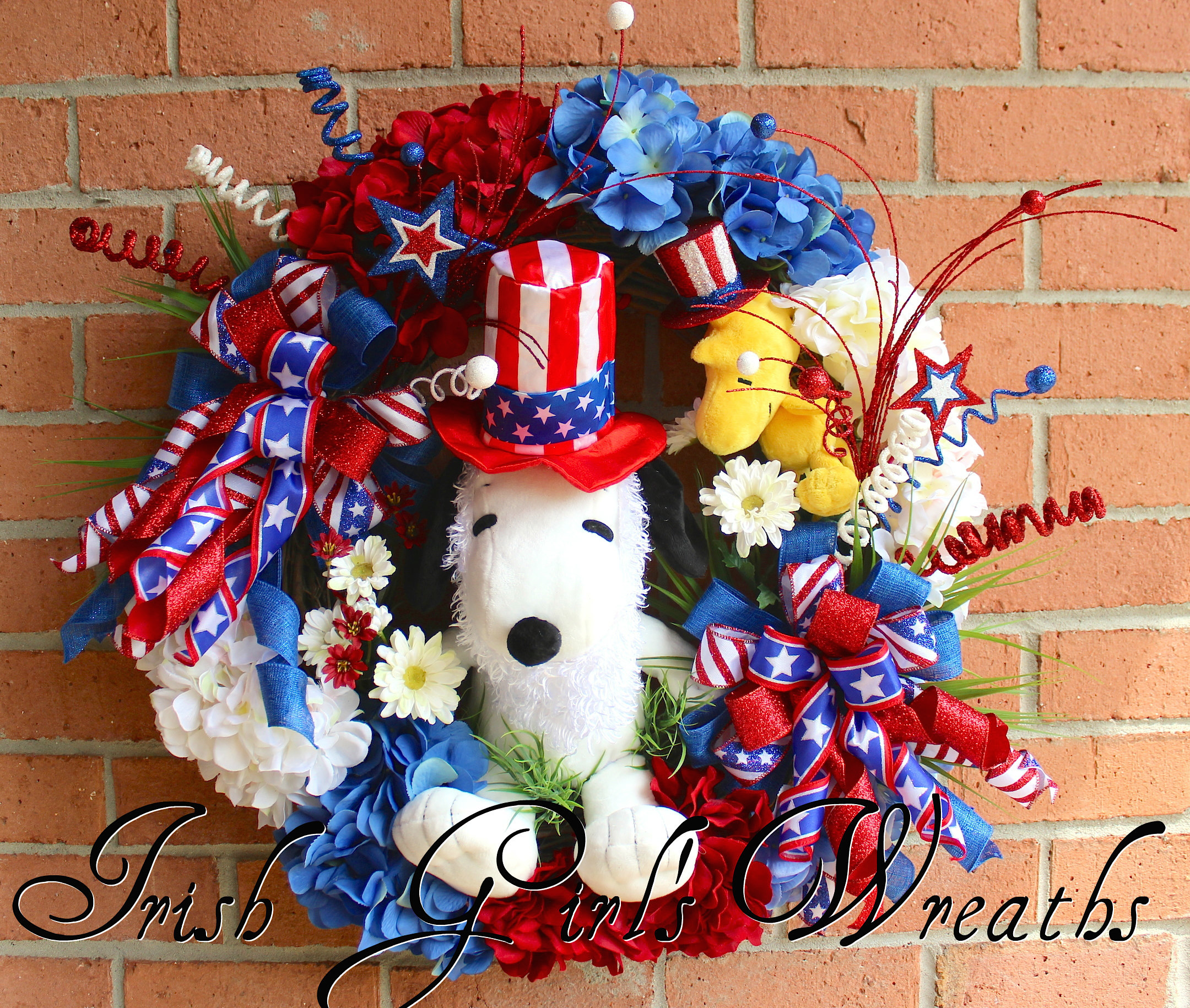 Large Snoopy & Woodstock Patriotic Wreath, Peanuts 4th of July Uncle Sam