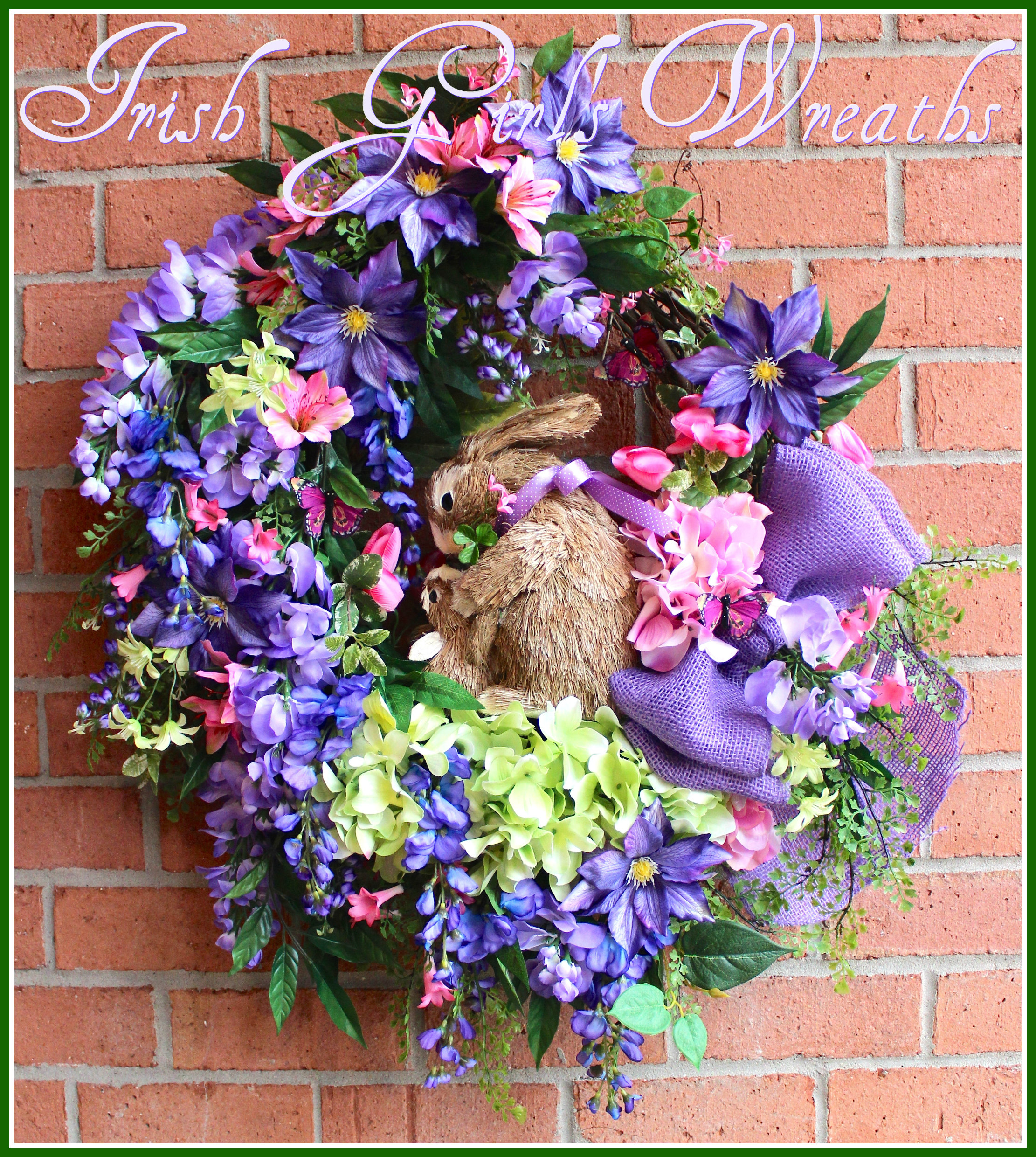 Large Purple and Pink Wisteria Clematis Hydrangea Spring Bunny Rabbit Wreath, Large, Easter, Mothers Day, Nursery