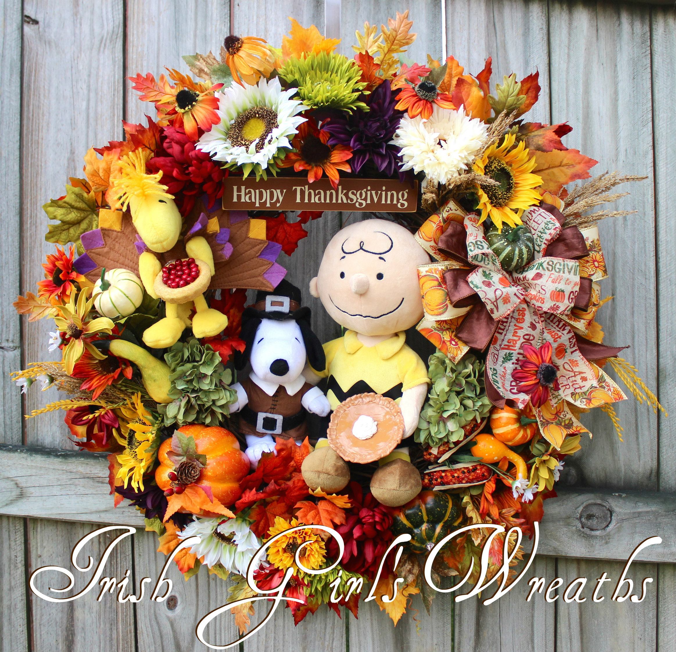 MADE TO ORDER– A Charlie Brown Thanksgiving Wreath, Only-1-Left, Pilgrim Snoopy, Turkey Woodstock, Peanuts