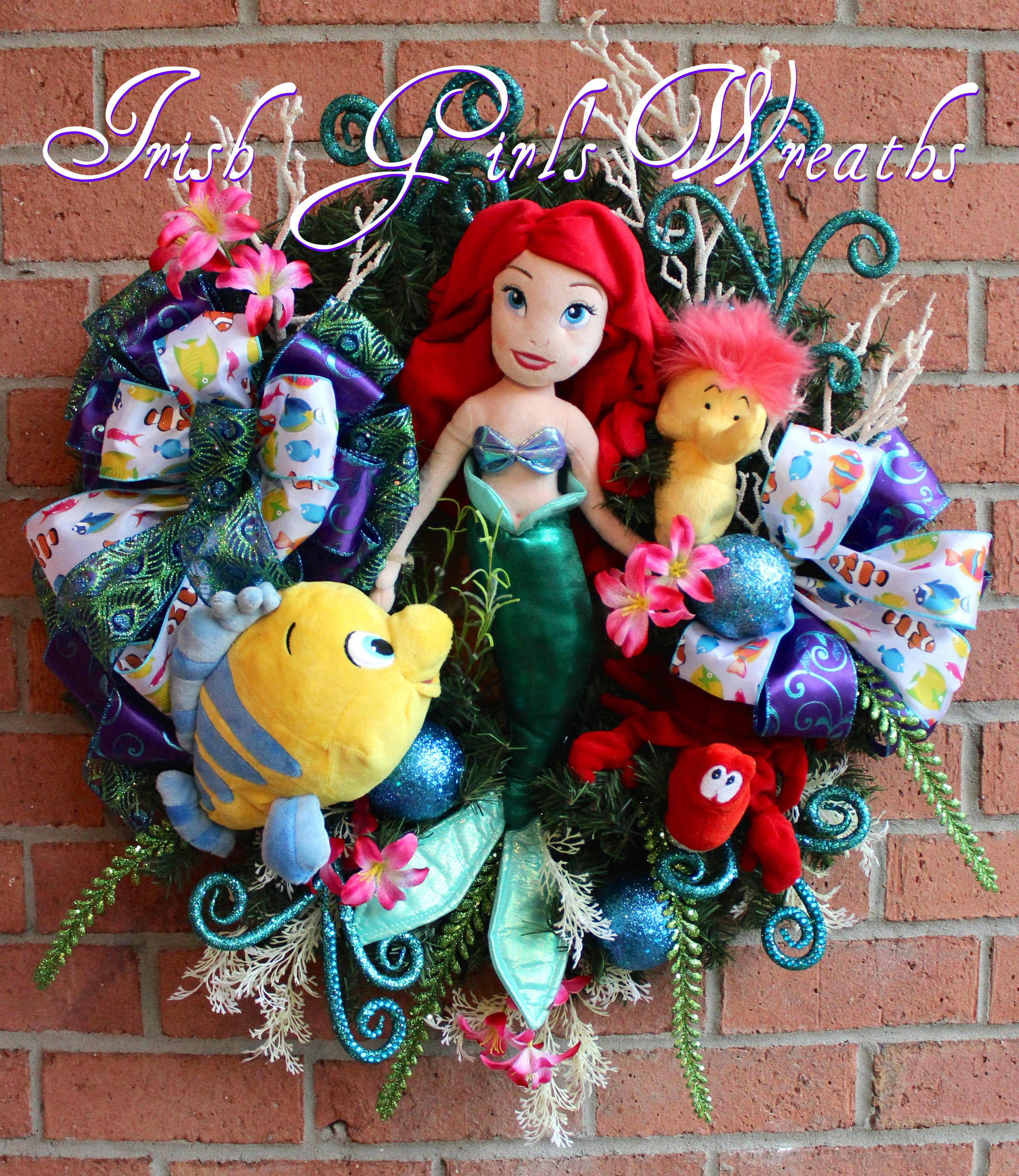 Princess Ariel Little Mermaid Wreath, Flounder, Sebastian Crab, Seahorse, Disney Princess Wreath