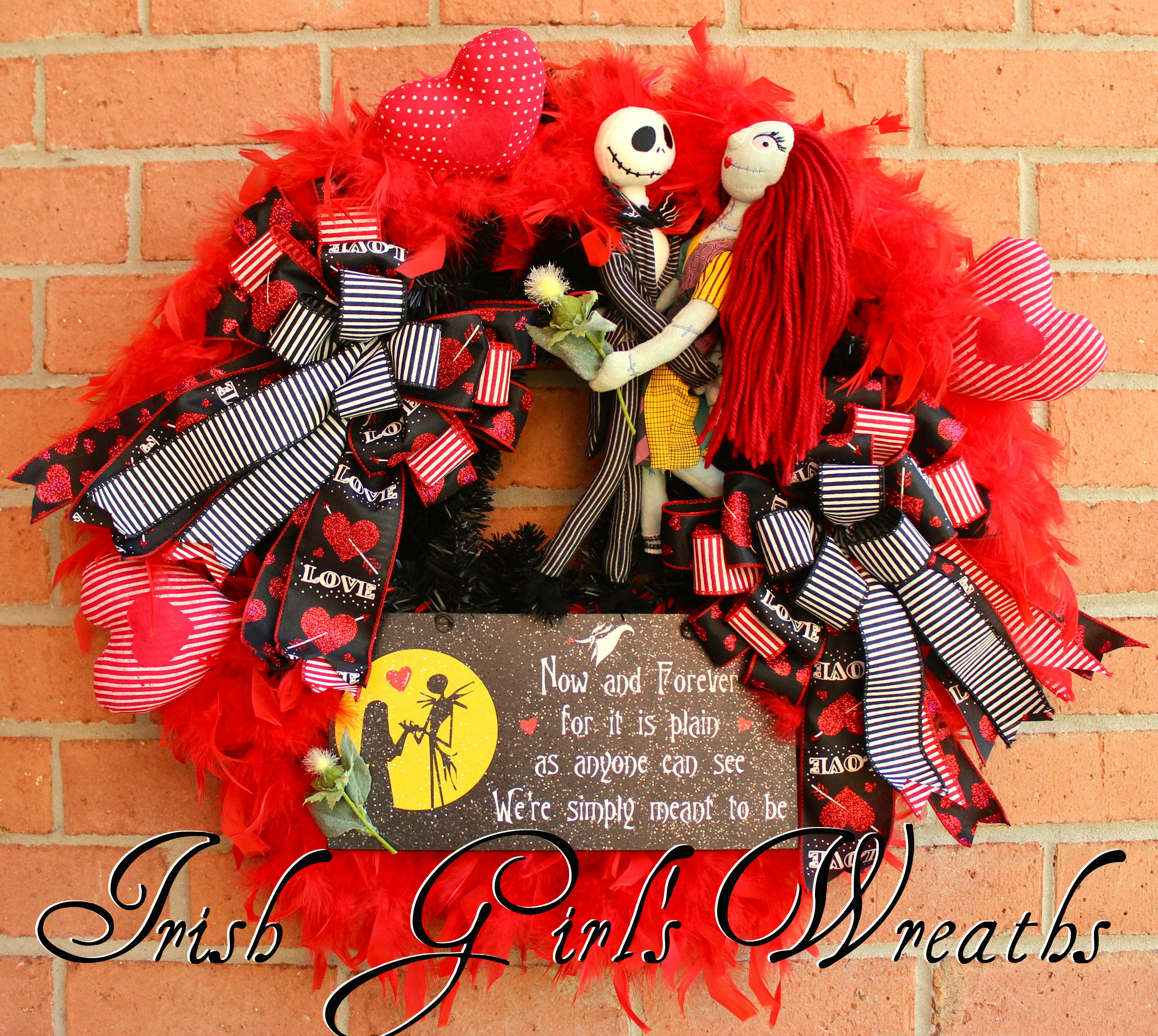 Jack Skellington and Sally Meant to Be Wreath, Nightmare Before Christmas Valentines Wreath, Custom for Lilly