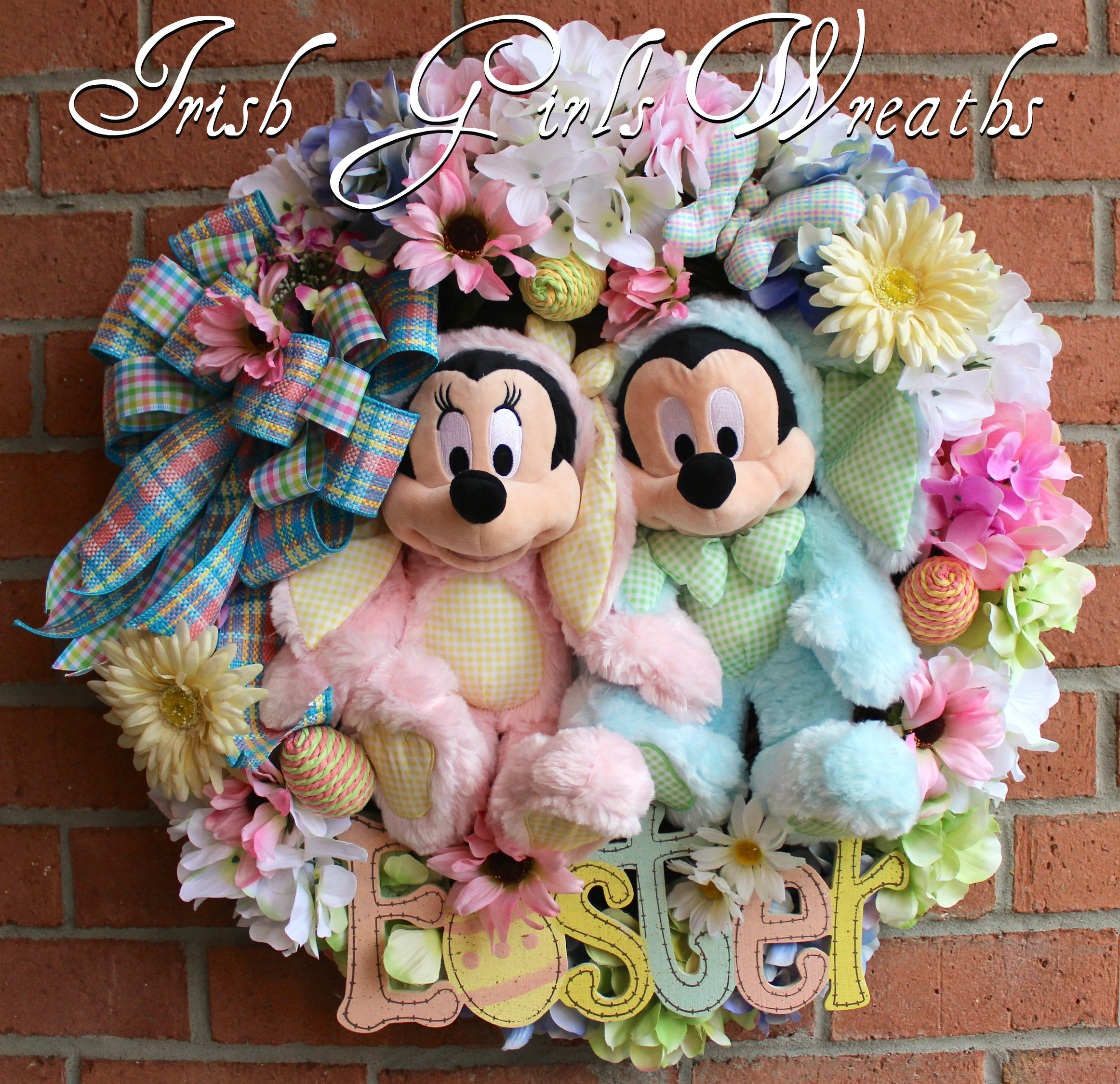 Mickey and Minnie Mouse Easter Wreath, Disney Easter Wreath