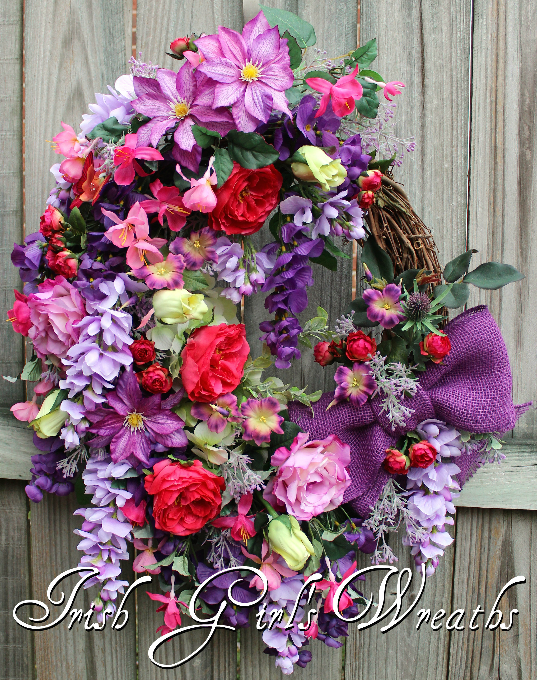 Large Purple & Orchid Wisteria French Country Garden Wreath, Spring