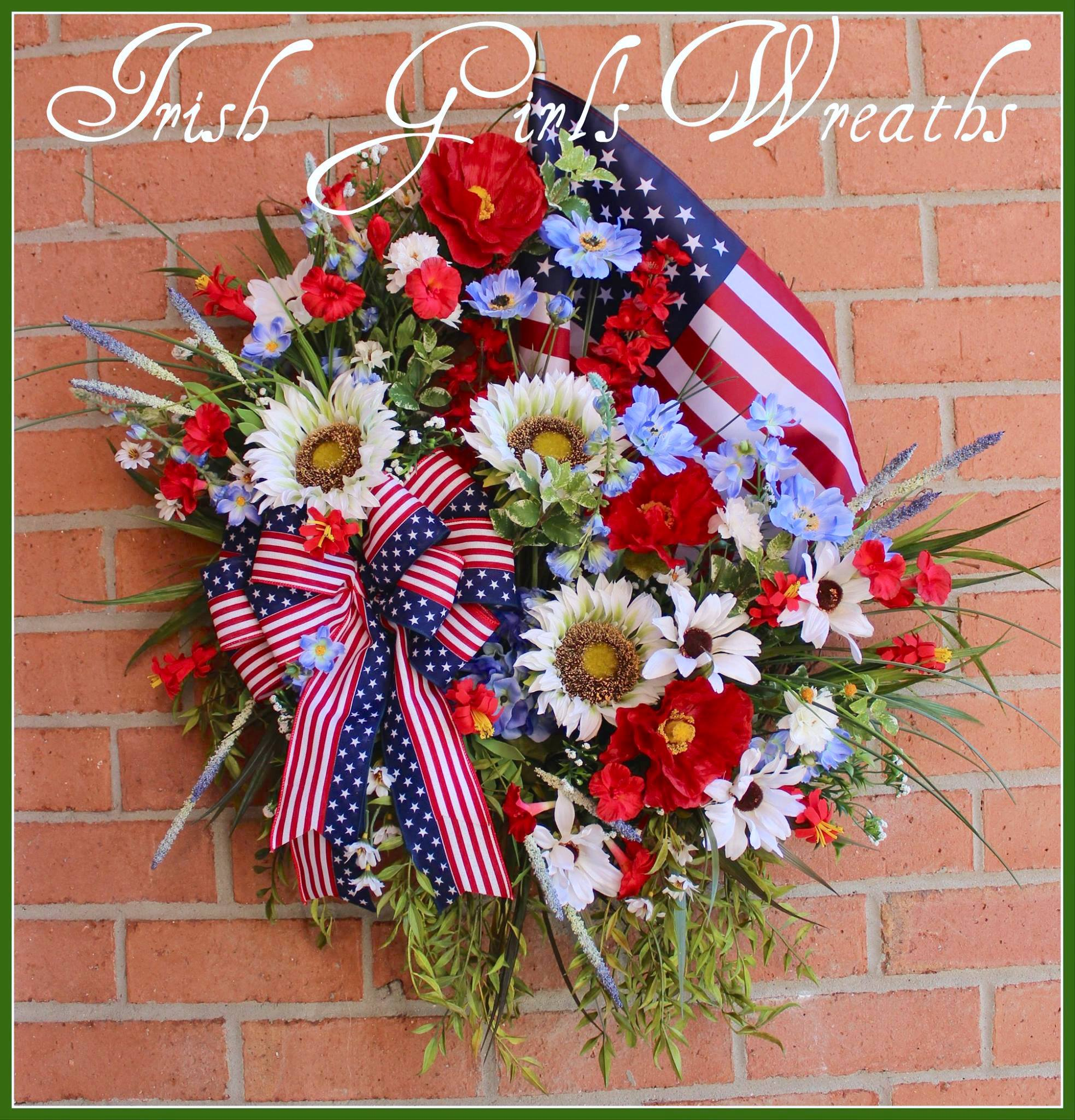 Patriotic Poppy Sunflower Wildflowers Wreath