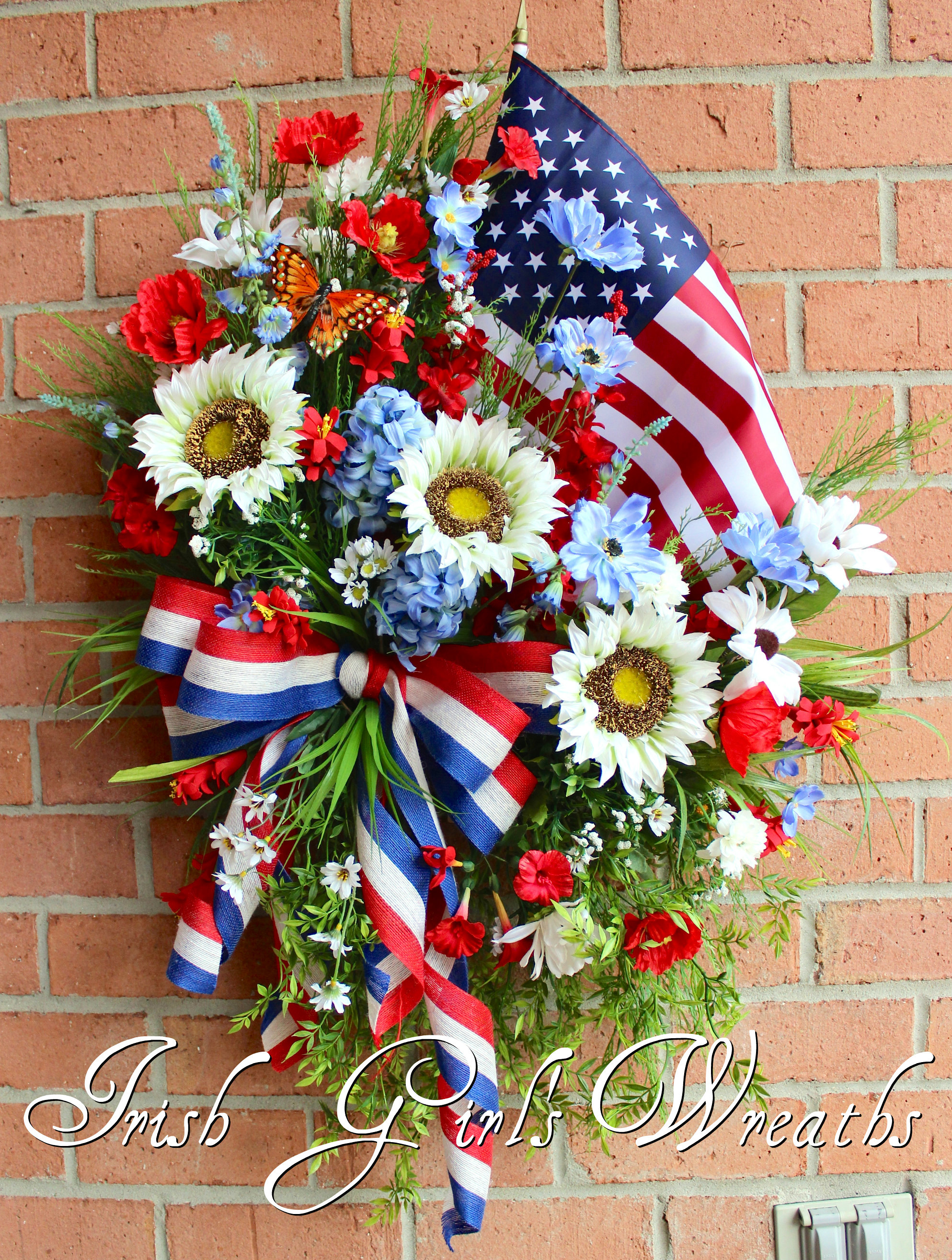 Patriotic Sunflower Poppy & Wildflower American Flag Wreath