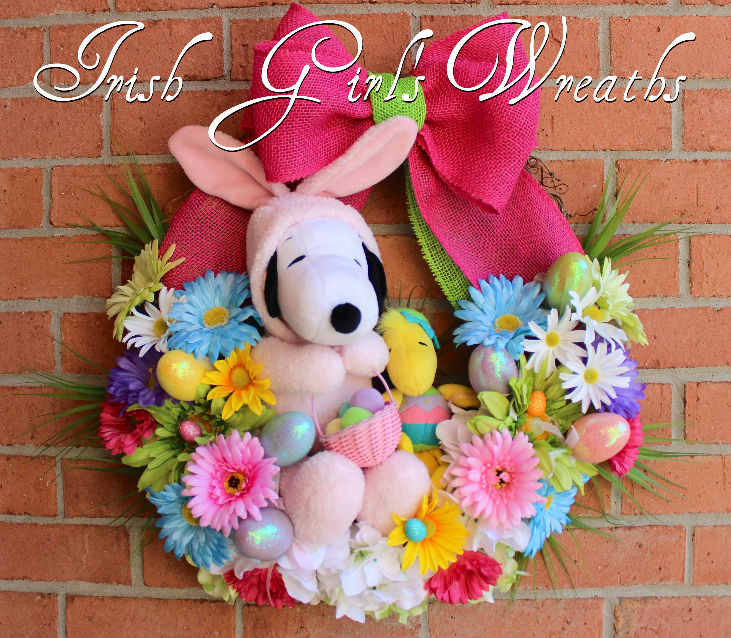 Peanuts Easter Beagle Wreath, Snoopy and Woodstock Easter Wreath, Pink Bunny Snoopy