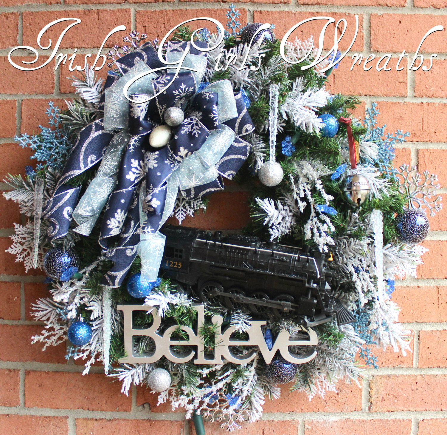Polar Express Train Christmas Wreath, Pre-lit with LED blue snowflake lights