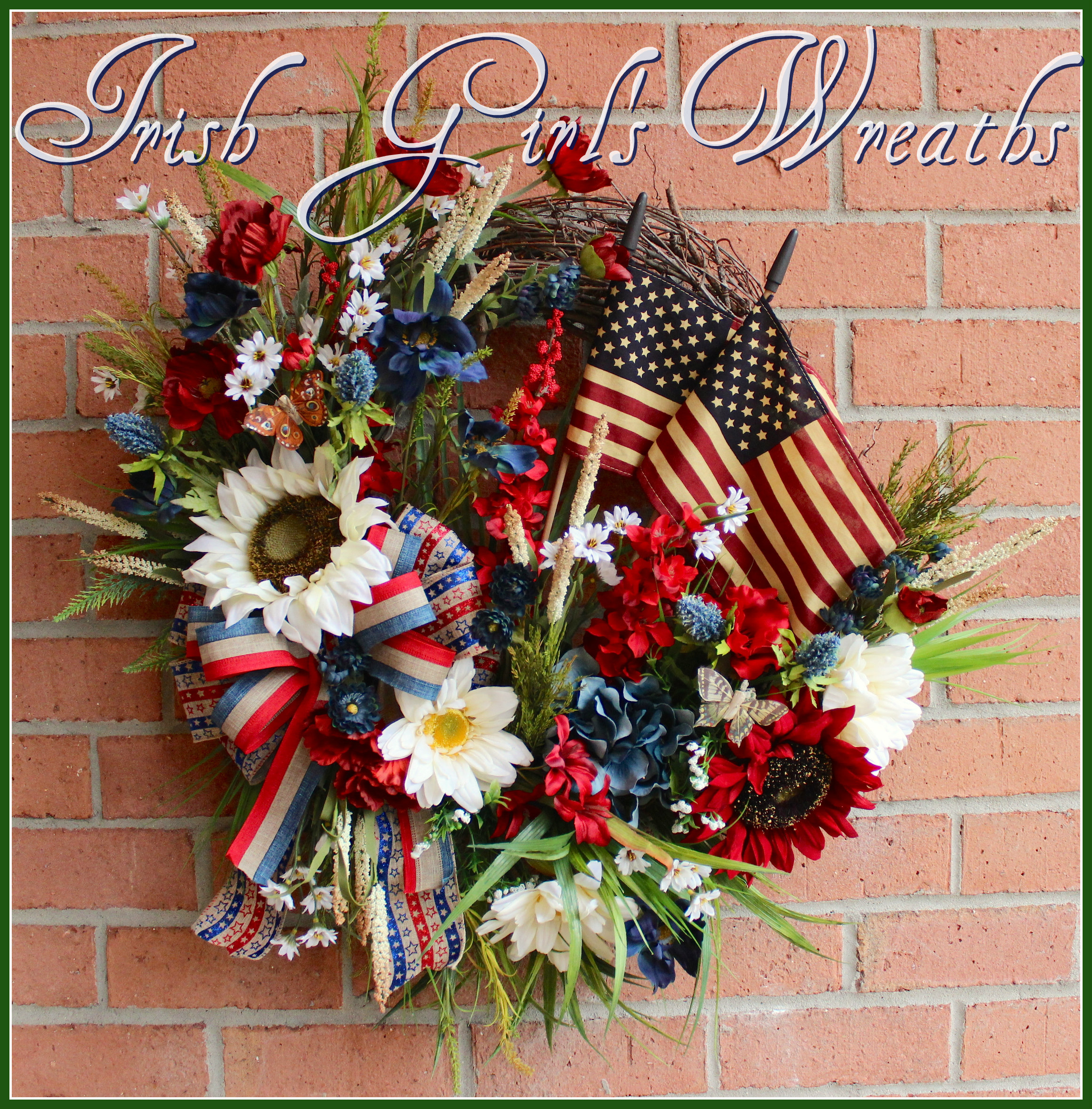 Primitive Patriotic Poppy, Sunflower & Wildflower Wreath