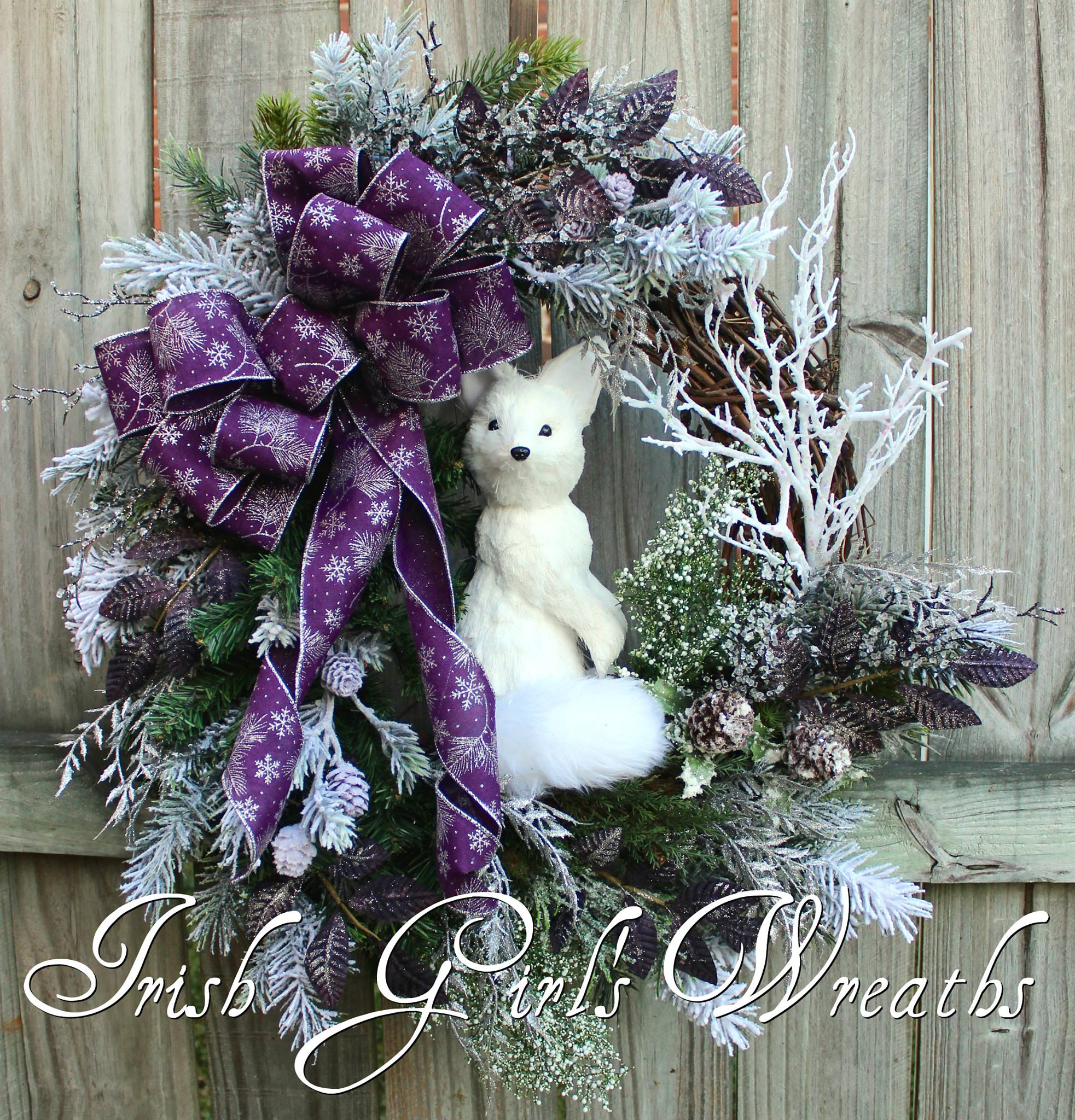 Winter Fox Rustic Woodland Christmas Wreath, in purple custom for Joan
