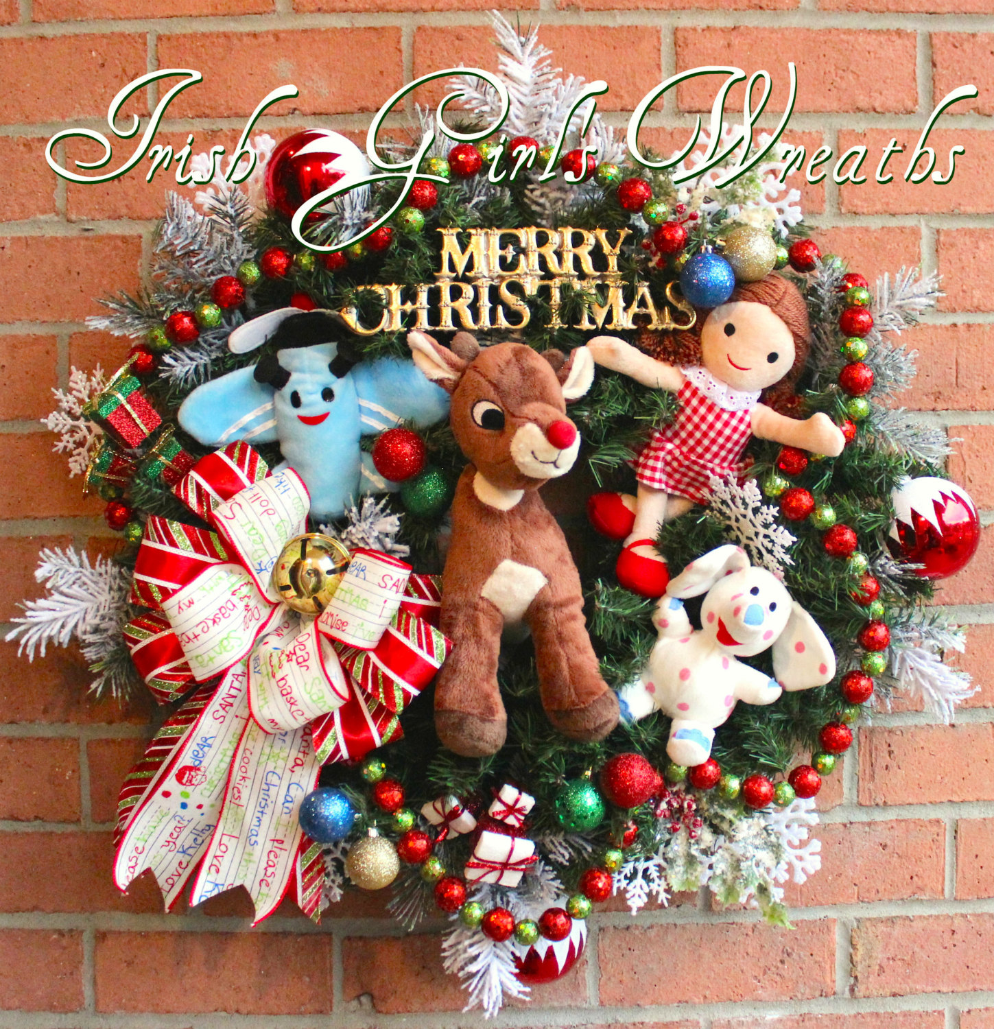 Rudolph and Misfit Toy Friends Christmas Wreath