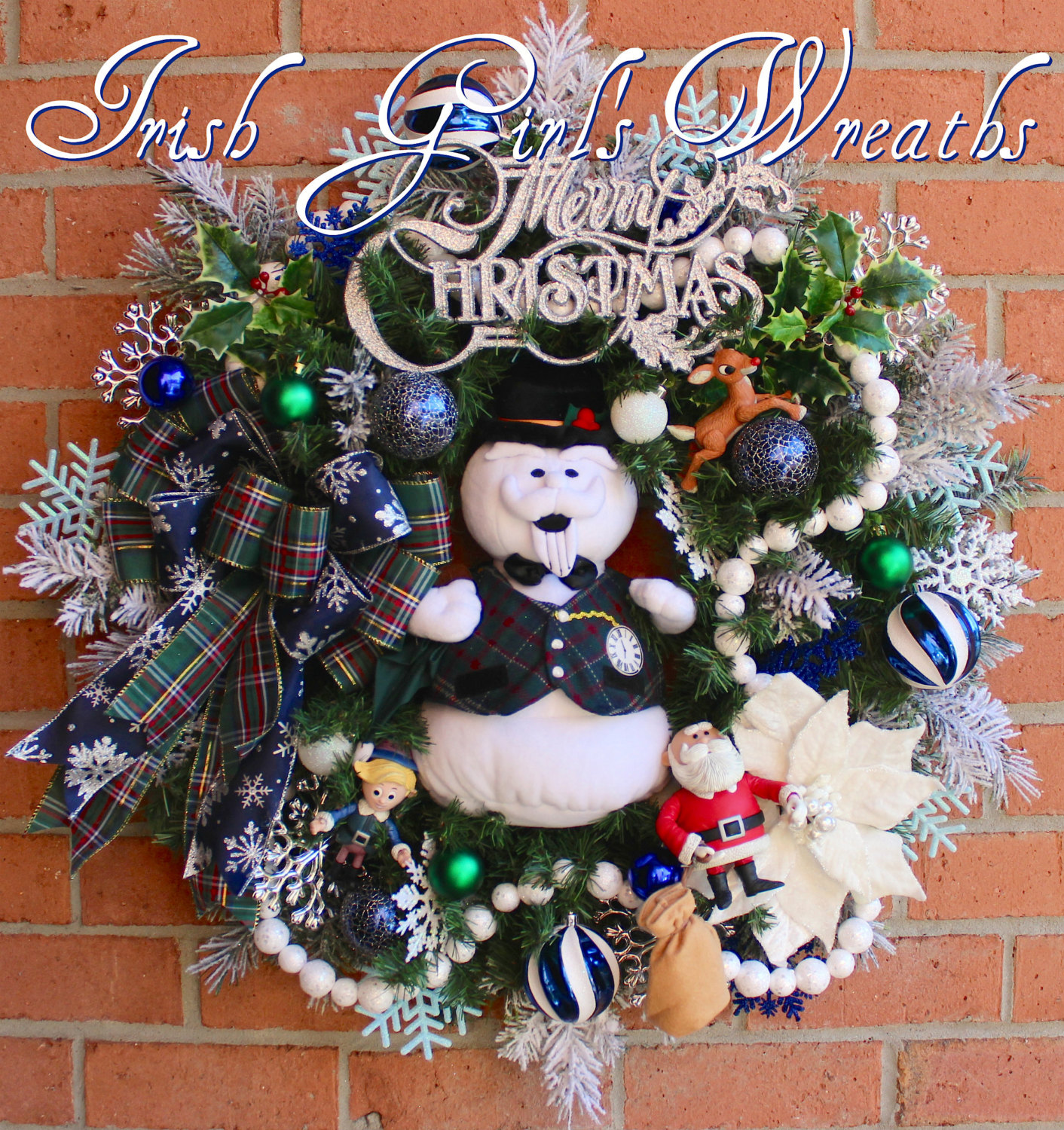 Sam the Snowman and Rudolph Christmas Wreath, Santa, Blue Silver, Hermie the Elf