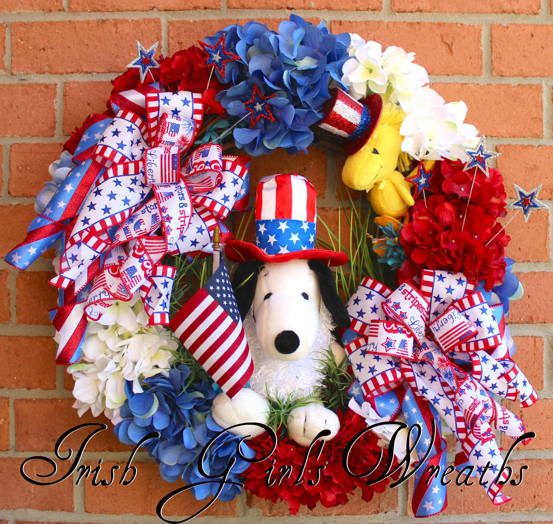 Snoopy and Woodstock Peanuts Patriotic Wreath, custom for Christin