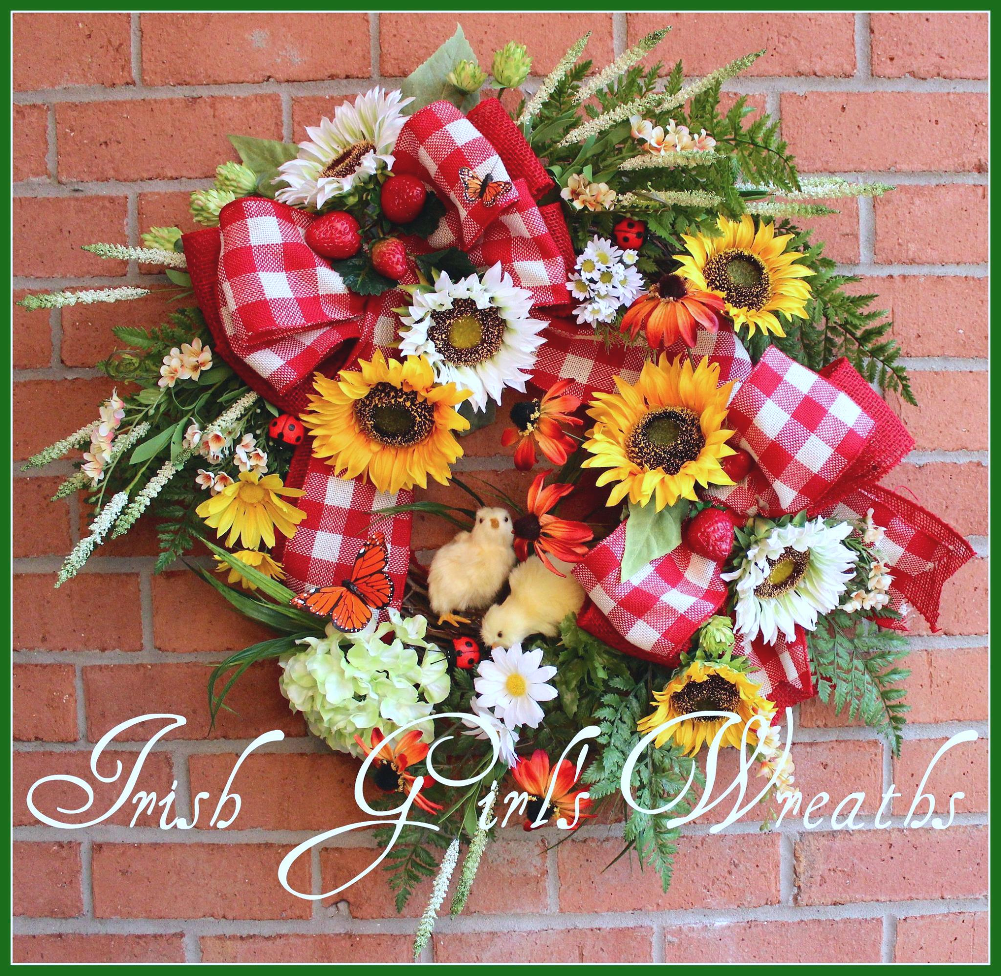 Springtime Chicks on the Farm Rustic Country Sunflower Wreath, custom