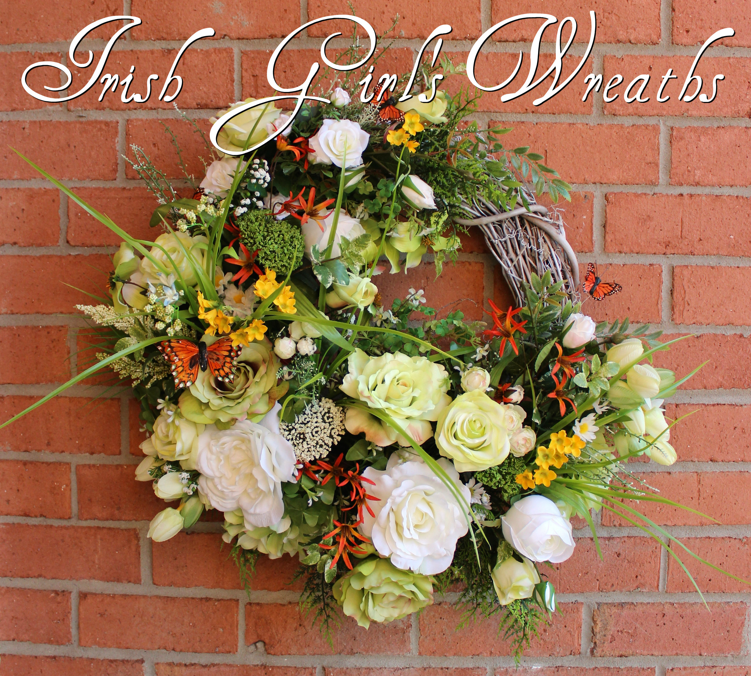 Large St Patrick's Cottage Garden Wreath, Green White Spring Wreath, Irish Primrose, Shamrock, clover, thistle