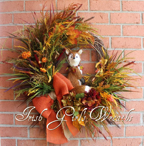 Hidden Fox in the Autumn Field Wreath-2, Custom for Susan