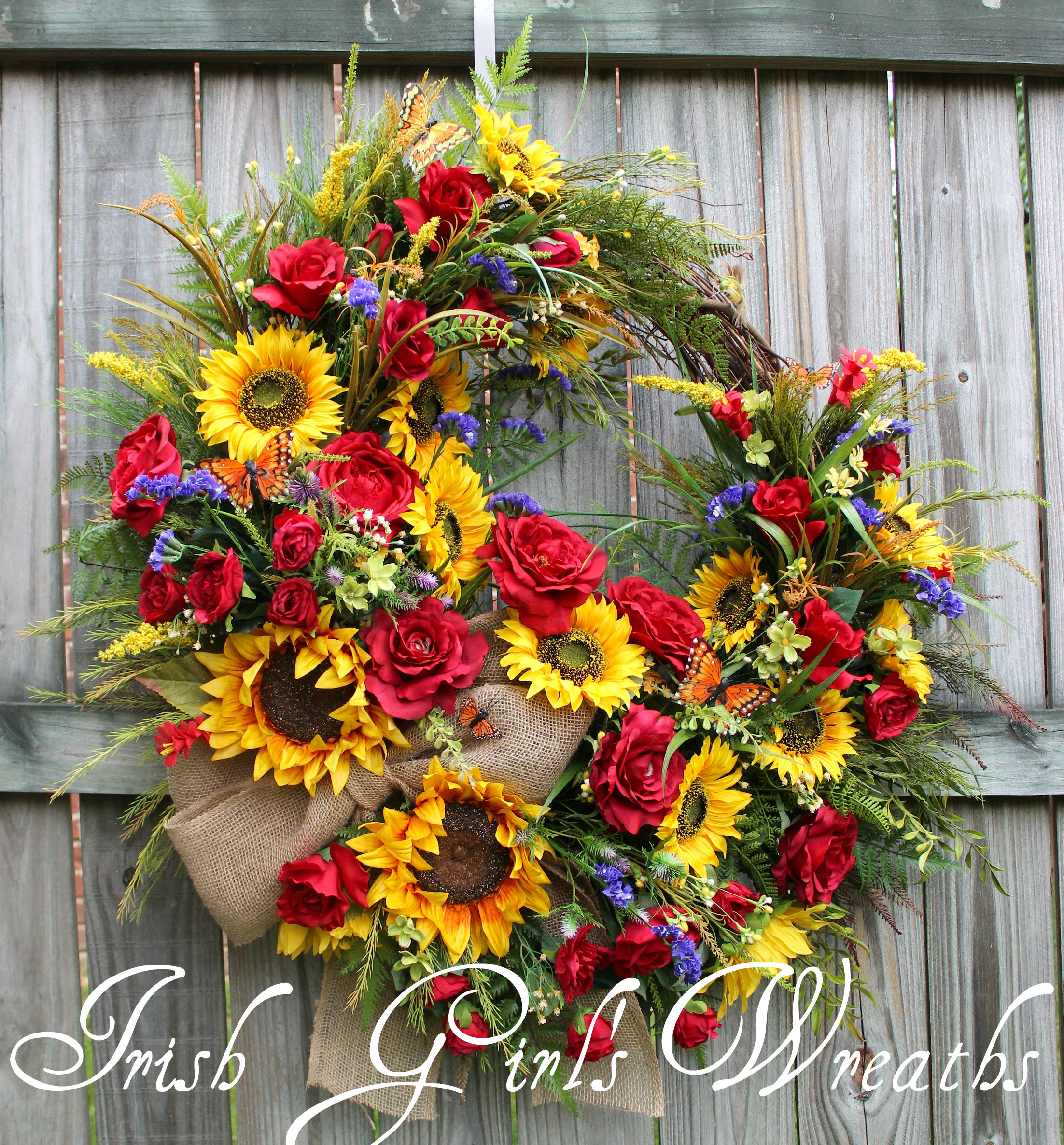 HUGE Rustic Summer Sunflower and Rose Wreath, Custom for Suzanne