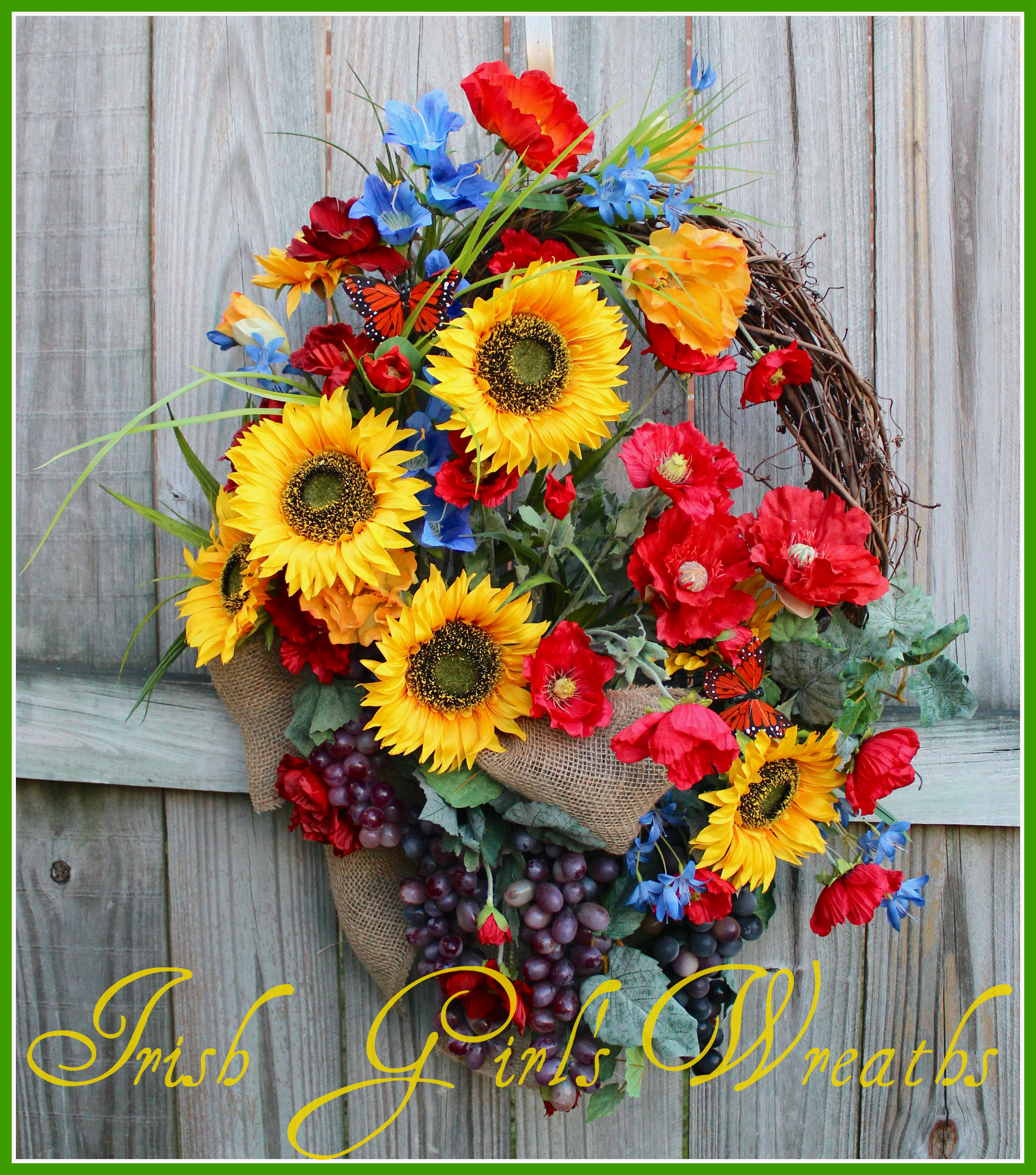 Garden of Italy Sunflower and Poppy Wreath, Custom for Tavish