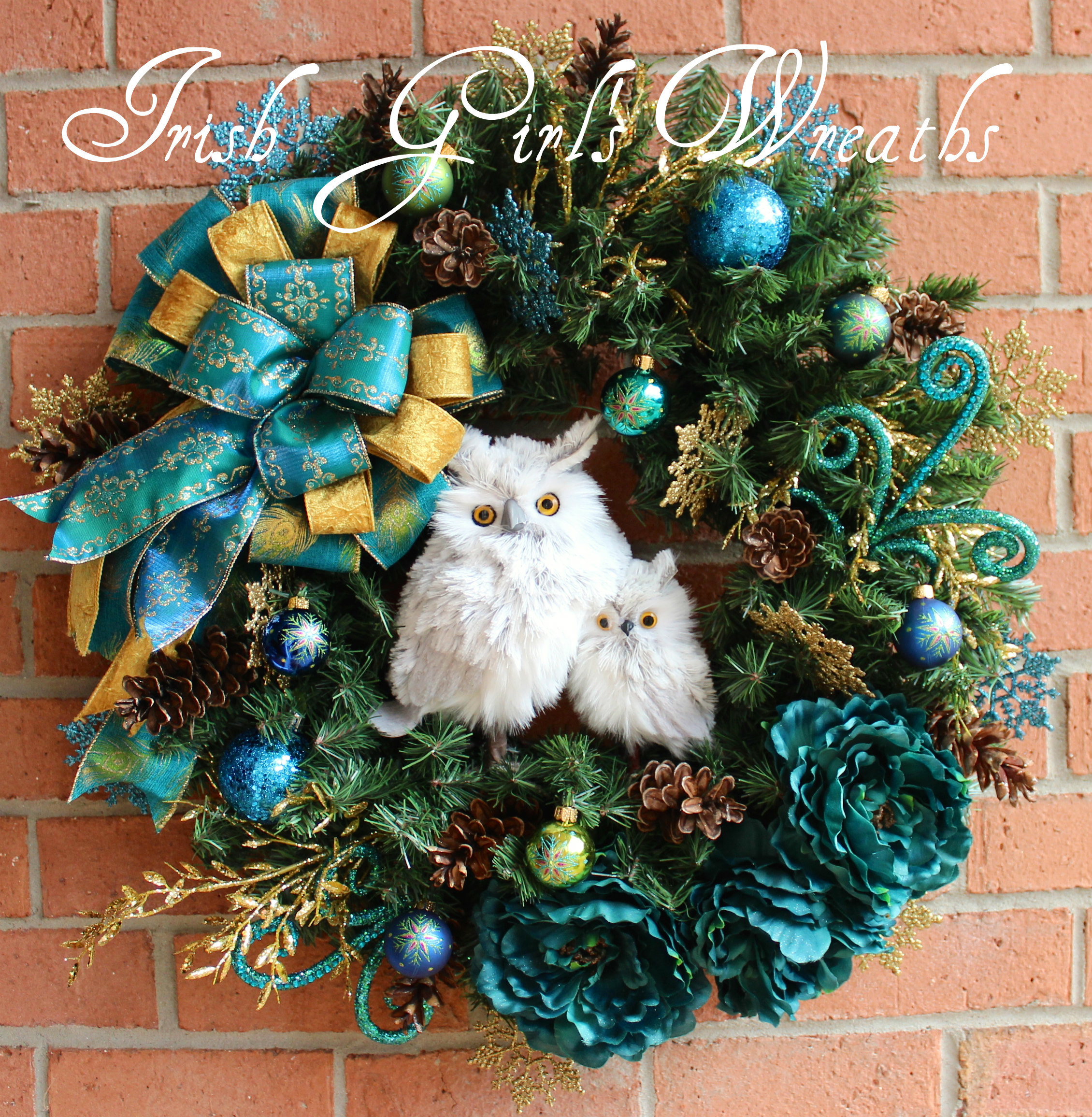 Teal Peacock and Gold Winter Owl Family Wreath