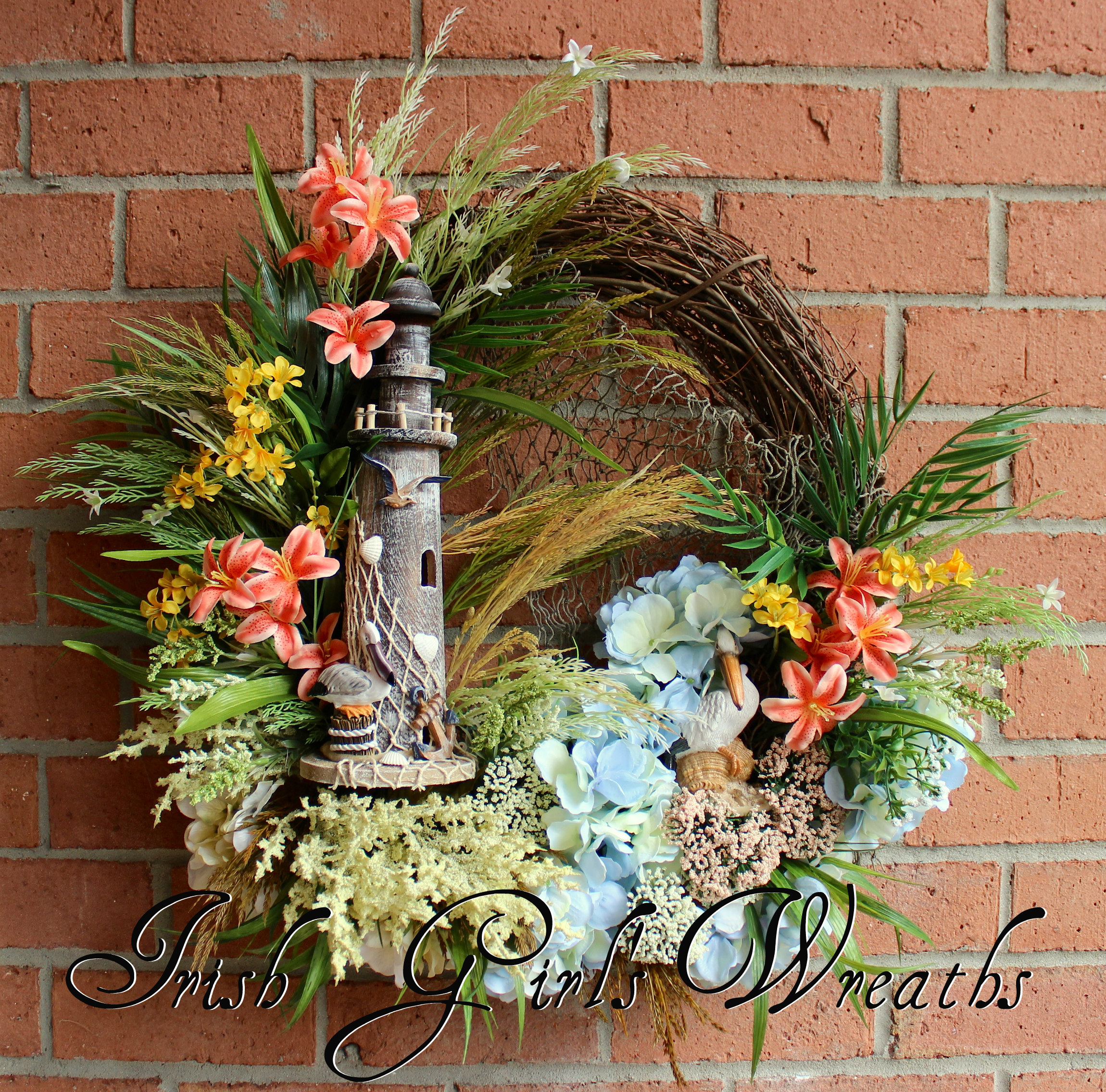 Tropical Pelican Lighthouse Coastal Wreath