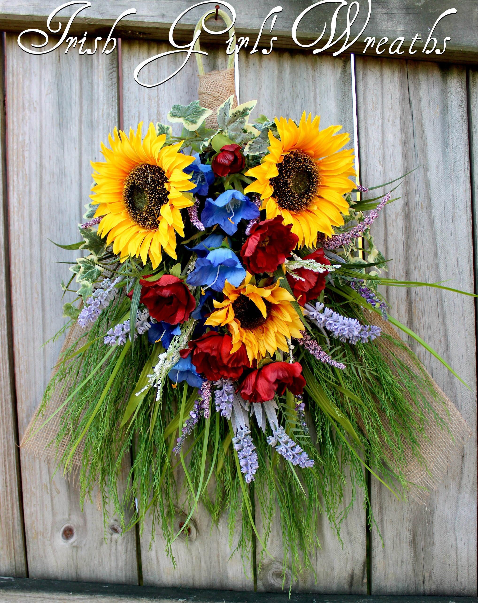 Tuscan Italy-French Country Floral Swag Wreath- Wall Hanging