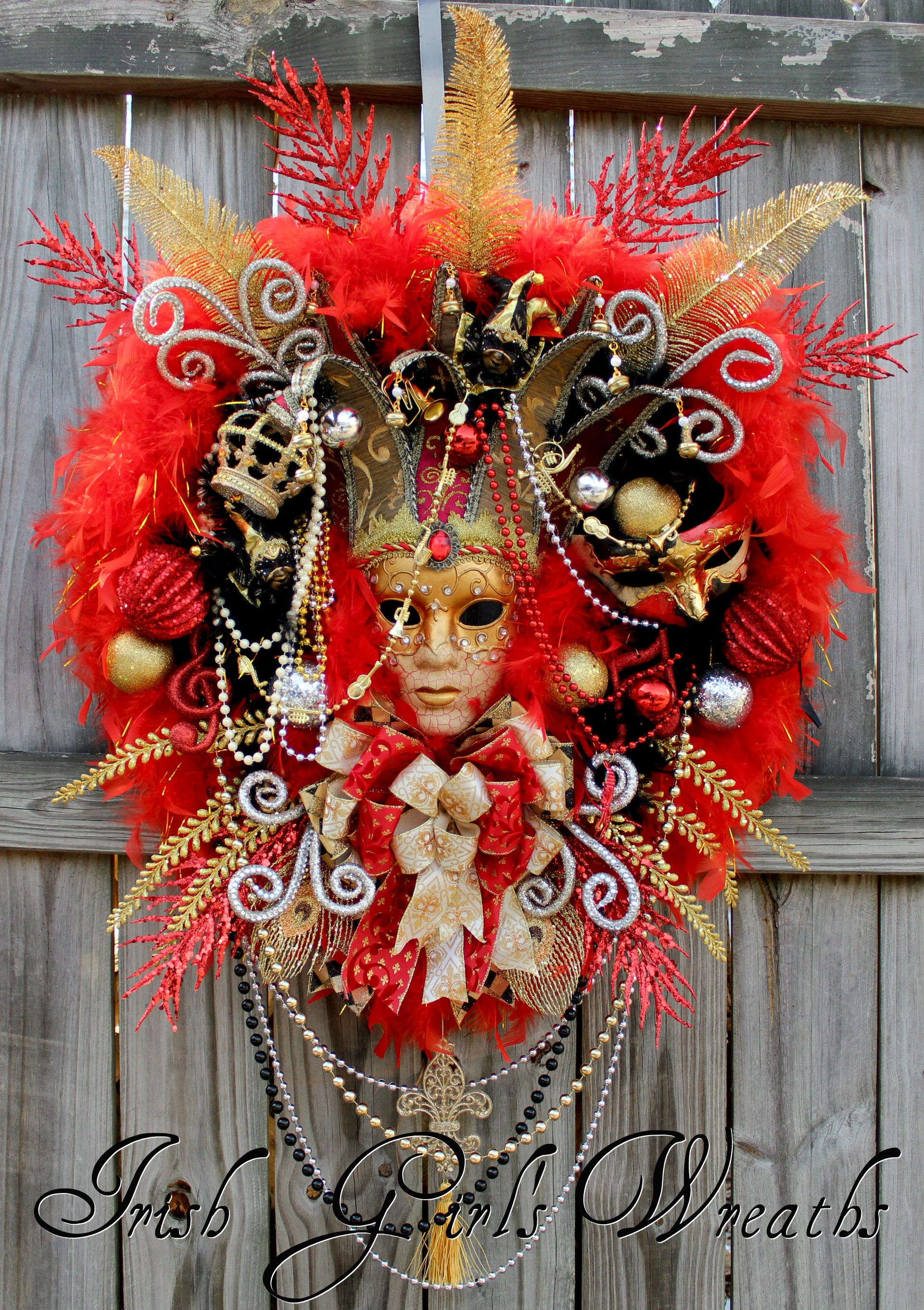 HUGE Red Mardi Gras Wreath, Venetian Mask, Masquerade Wreath, Christmas in New Orleans Wreath