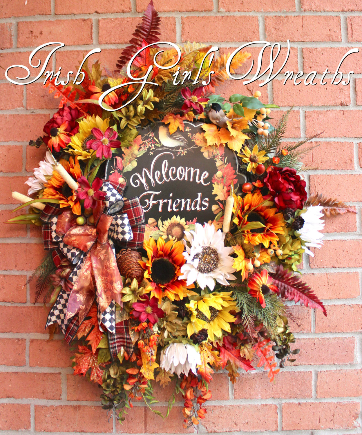 HUGE Welcome Friends Deluxe Fall Sunflower Wreath, XXL Autumn Floral Wreath