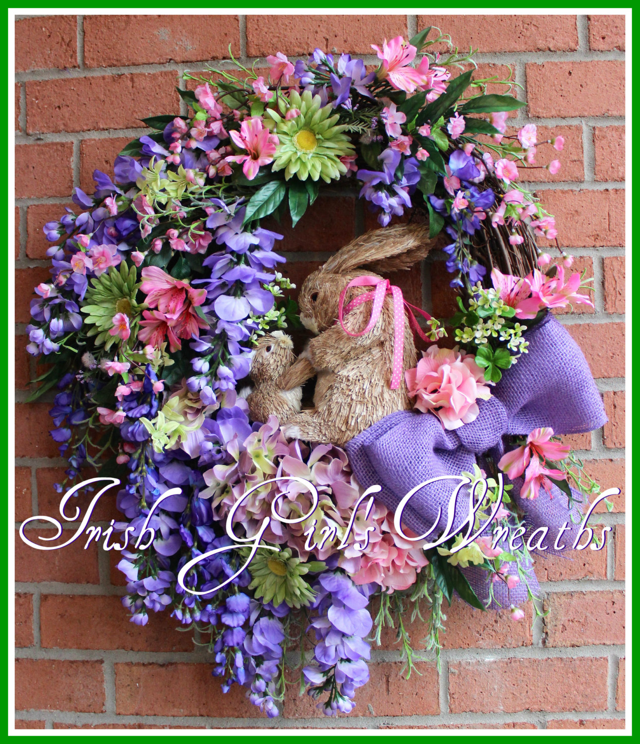 Purple and Pink Wisteria, Cherry Blossom, Hydrangea Spring Bunny Rabbit Wreath