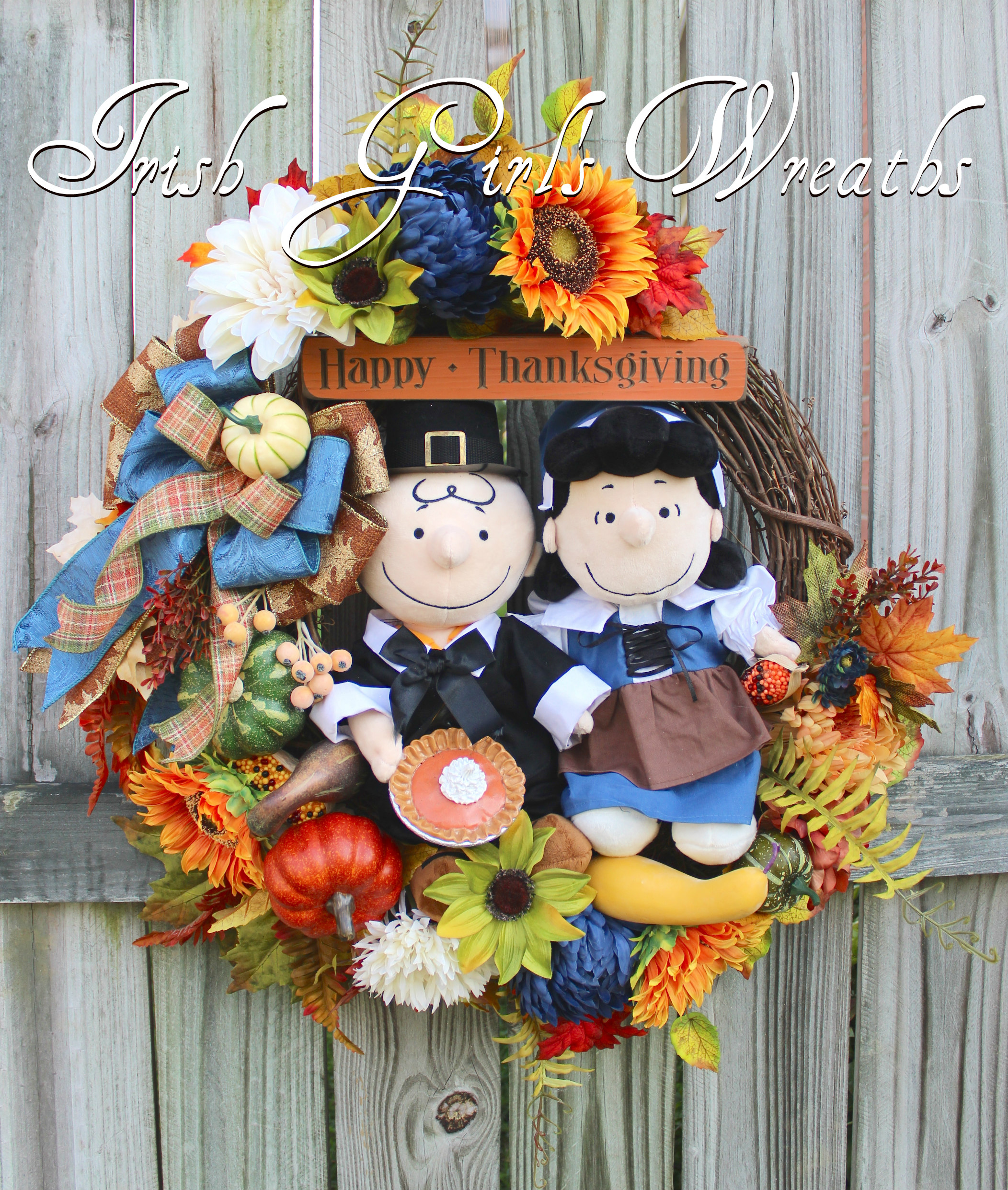 Pilgrim Charlie Brown and Lucy Peanuts Thanksgiving Wreath