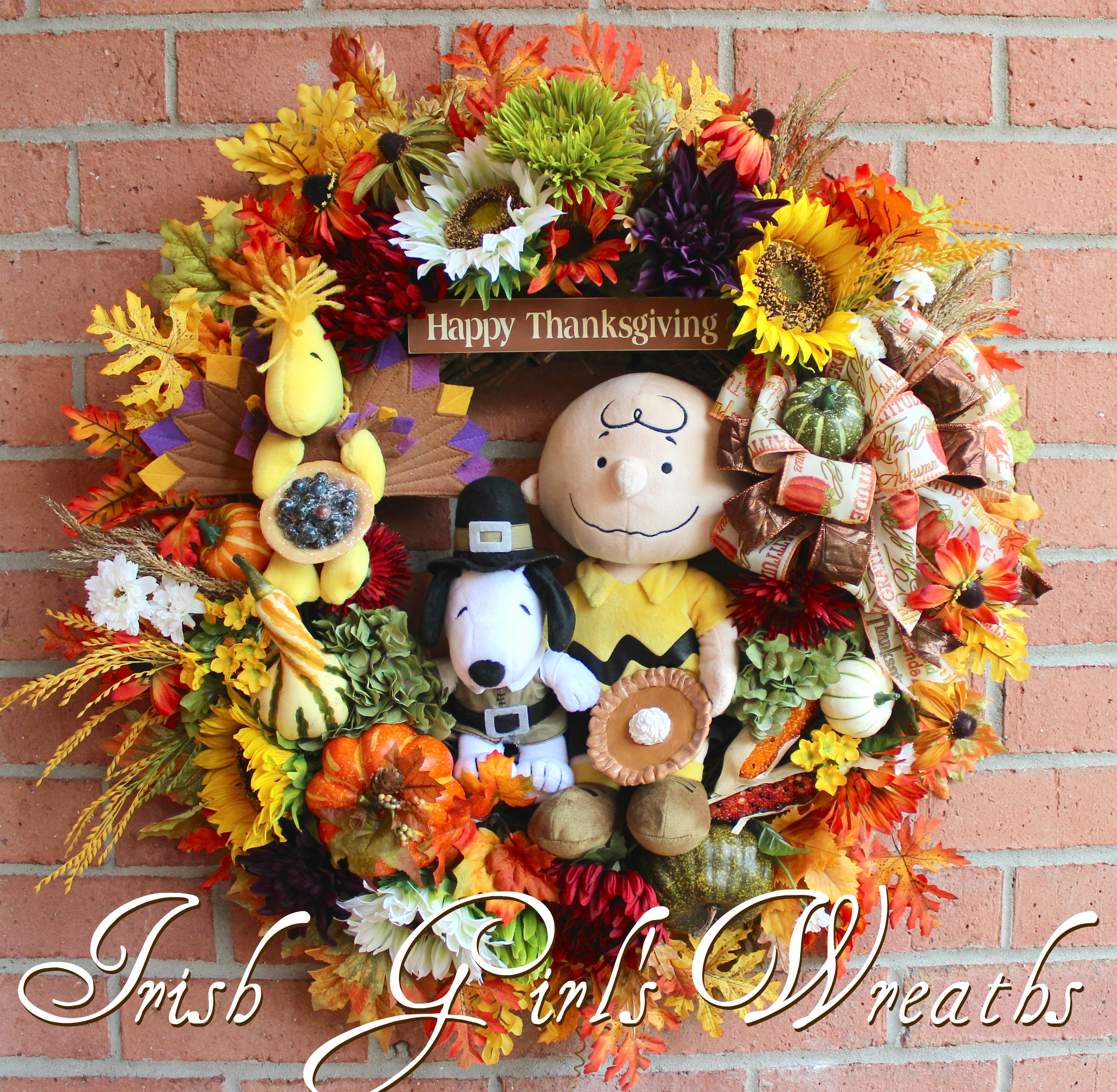 Deluxe Charlie Brown Thanksgiving Wreath, Custom for Cindi