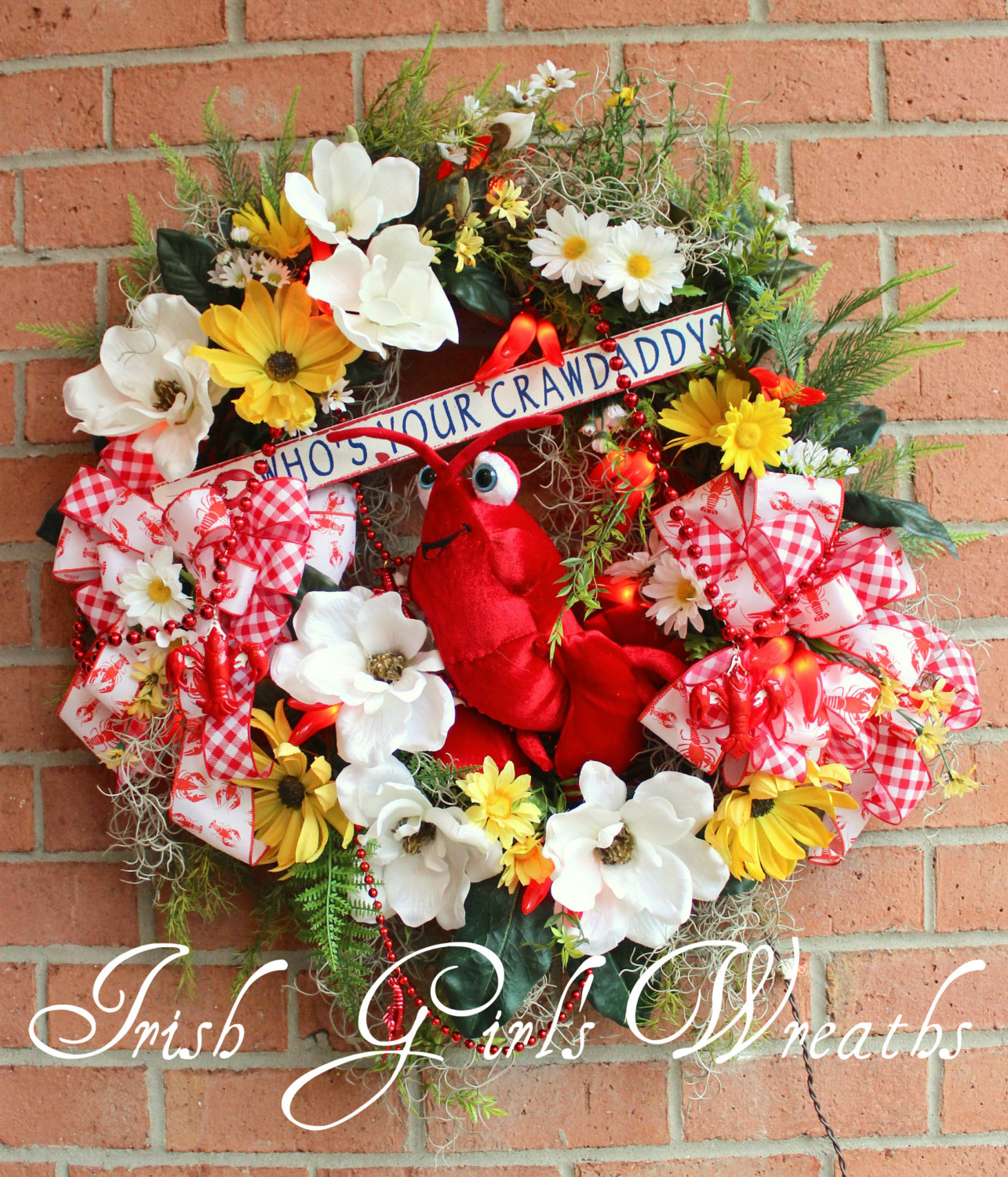Who's Your Crawdaddy Wreath, Crawfish Boil, Cajun, Creole, Chili pepper lights, Magnolia wreath, Spanish moss, Crawfish beads