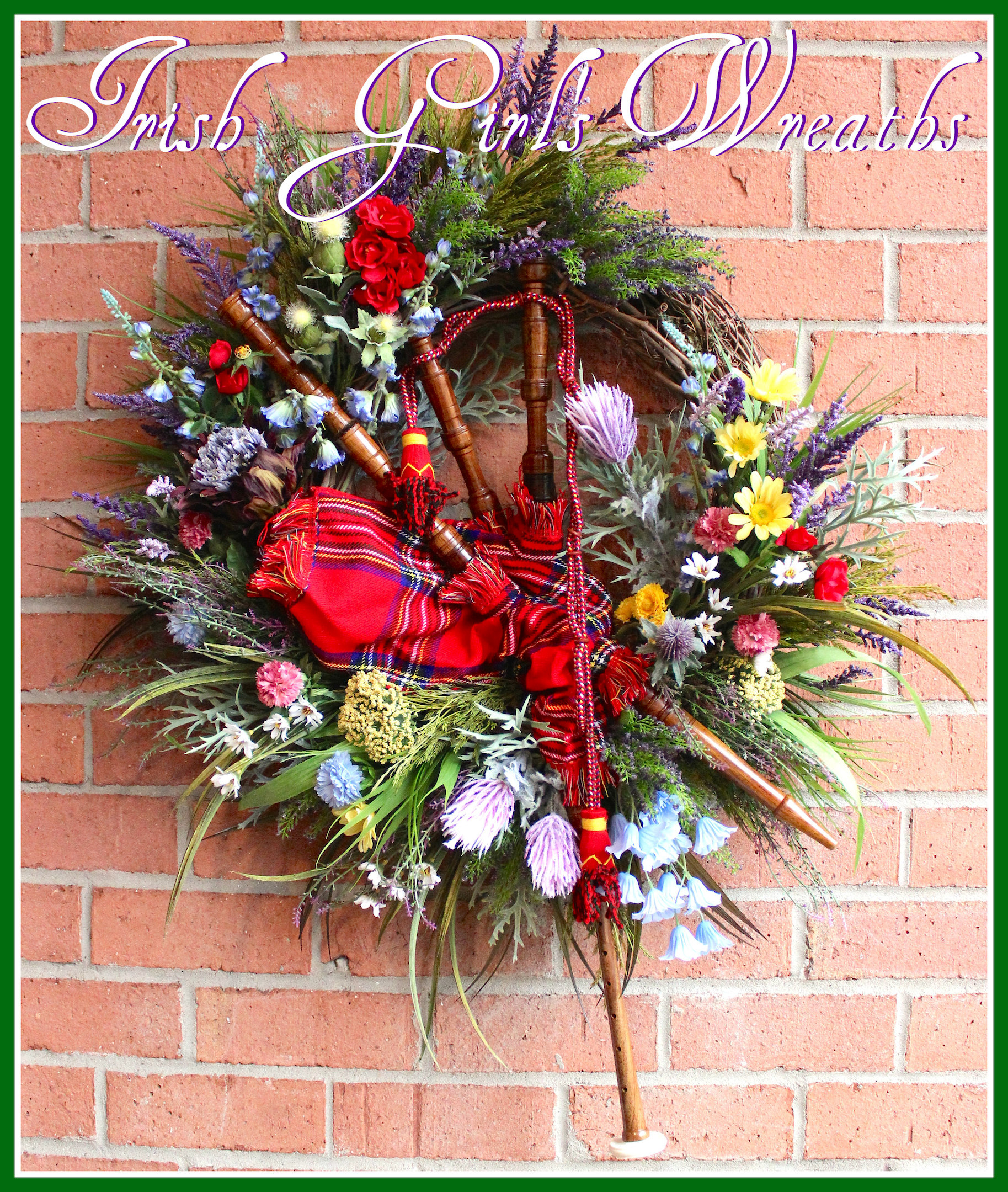 MADE TO ORDER Scottish Bagpipes and Wildflowers Wreath, Highland Scotland Tartan Wreath