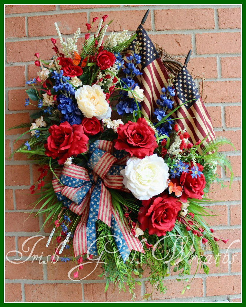 MADE To ORDER XL Rustic Americana Patriotic Summer Rose Garden Wreath,2 tea stained flags, 4th July, Memorial Day