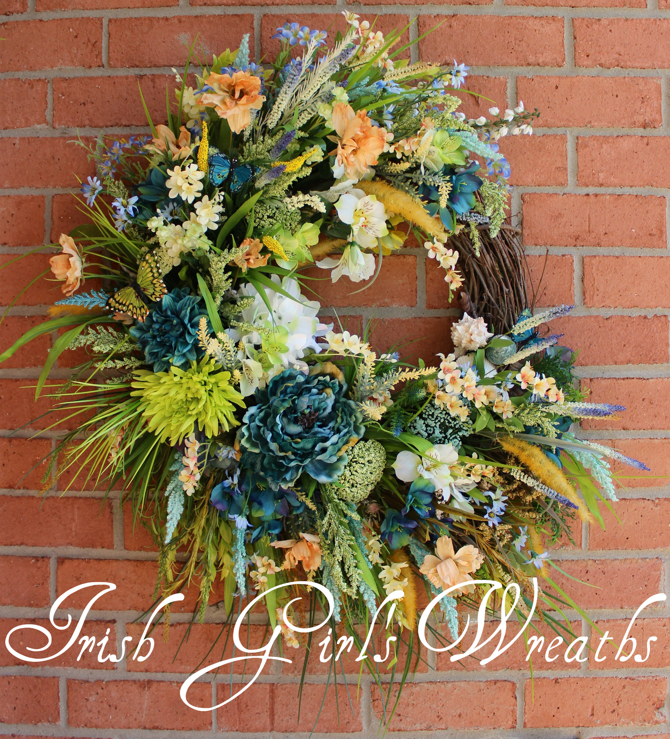 Extra Large Coastal Wreath in teal, green, yellow, peach, white, beach sunrise, turquoise, blue