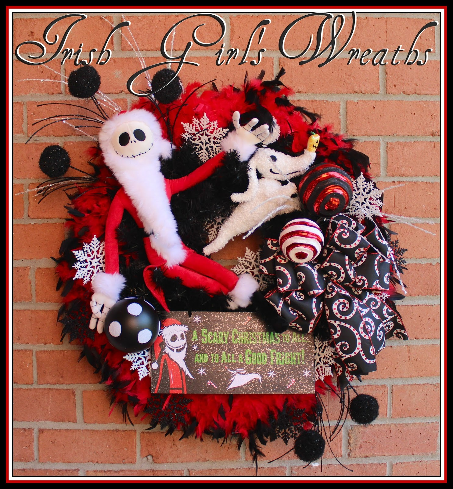 Sandy Claws Nightmare Before Christmas Wreath, Jack Skellington Christmas Wreath, red black, Zero Plush