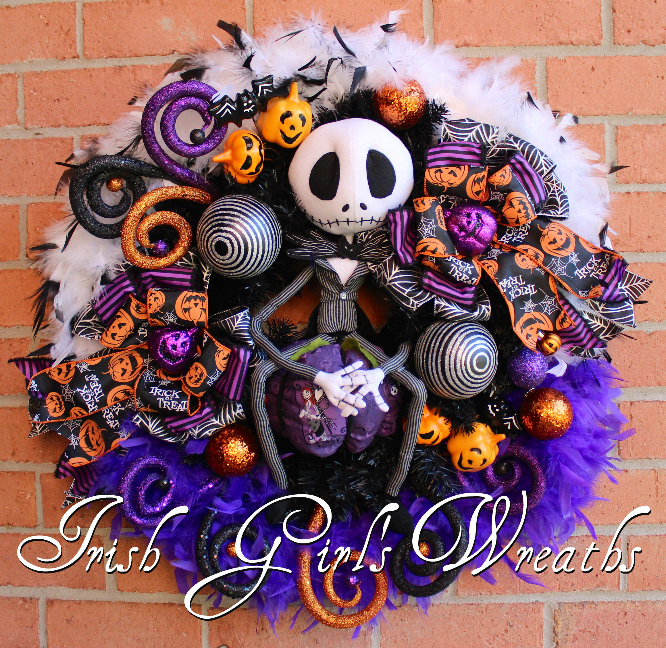 Purple & Black Jack Skellington Wreath, Nightmare Before Christmas Halloween Wreath