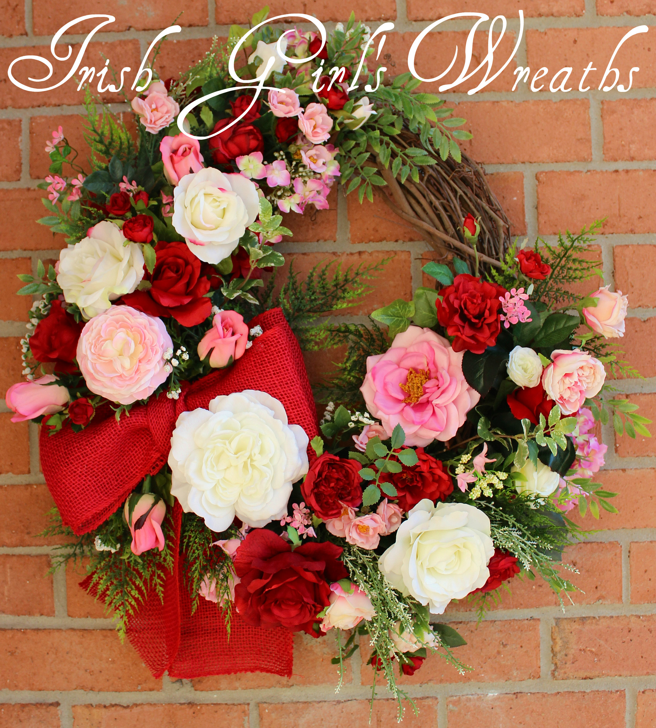 Pink and Red Valentine Rose Garden Wreath, Deluxe Spring Cottage Wreath, Large floral Wreath